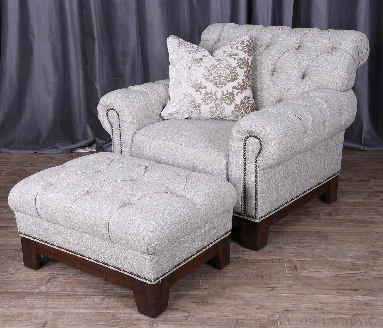 Popular Sofa Chair With Ottoman Pertaining To Magnussen Home Caitlyn Transitional Button Tufted Chair And Ottoman (Gallery 11 of 20)