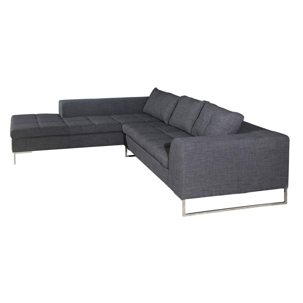 Preferred Aquarius Dark Grey Sofa Chairs Pertaining To Sulla Sofa Sectional W/ Right Chaise In Charcoal Fabric On Polished (View 12 of 20)