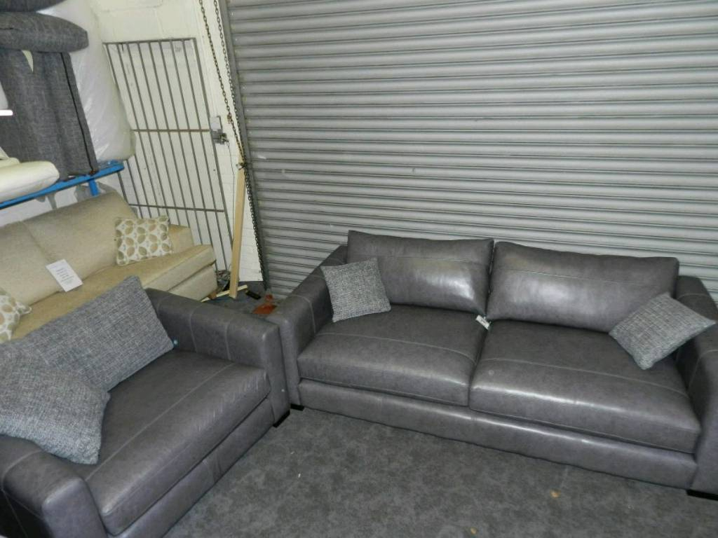 Preferred Dillon Grey Leather Large Sofa + Snuggler Chair (View 8 of 20)