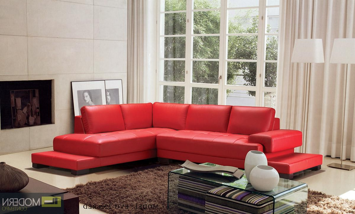 Preferred Divani Casa Moscow – Modern Leather Sectional Sofa Inside Red Sofas And Chairs (View 12 of 20)
