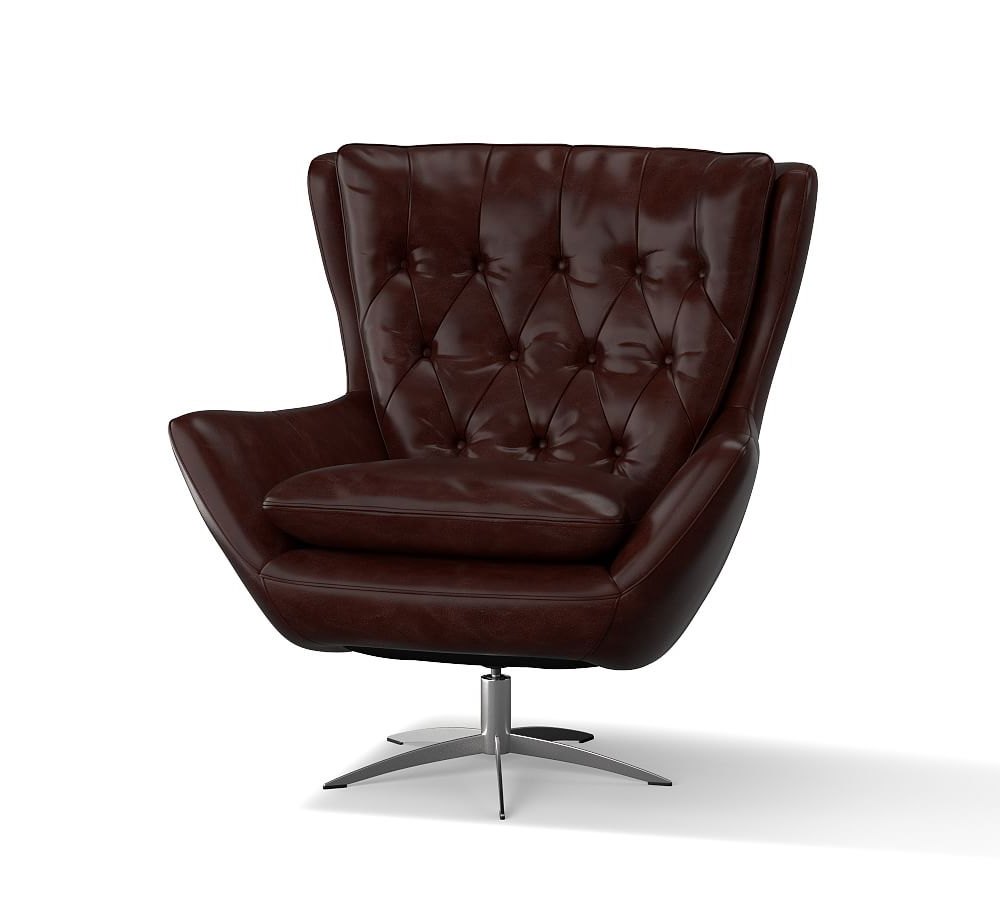 Preferred Espresso Leather Swivel Chairs Throughout Wells Leather Swivel Armchair, Polyester Wrapped Cushions (View 15 of 20)