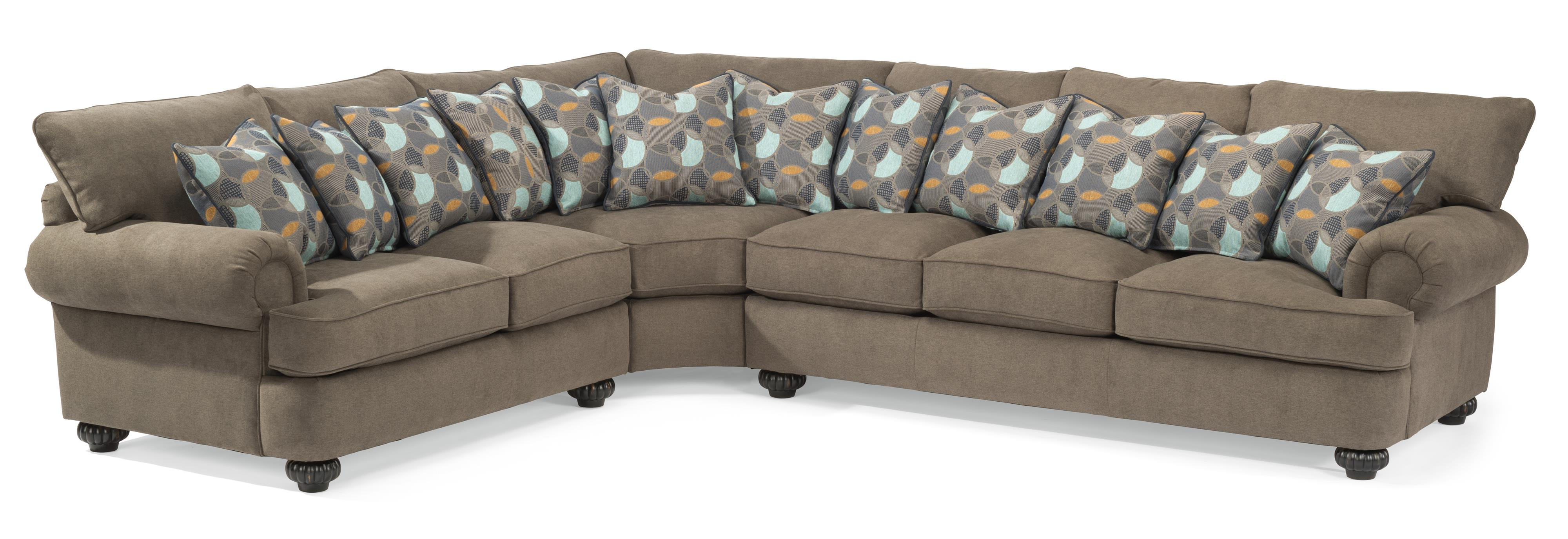 Preferred Flexsteel Patterson Three Piece Sectional Sofa With Rolled Arms In Patterson Ii Arm Sofa Chairs (View 3 of 20)