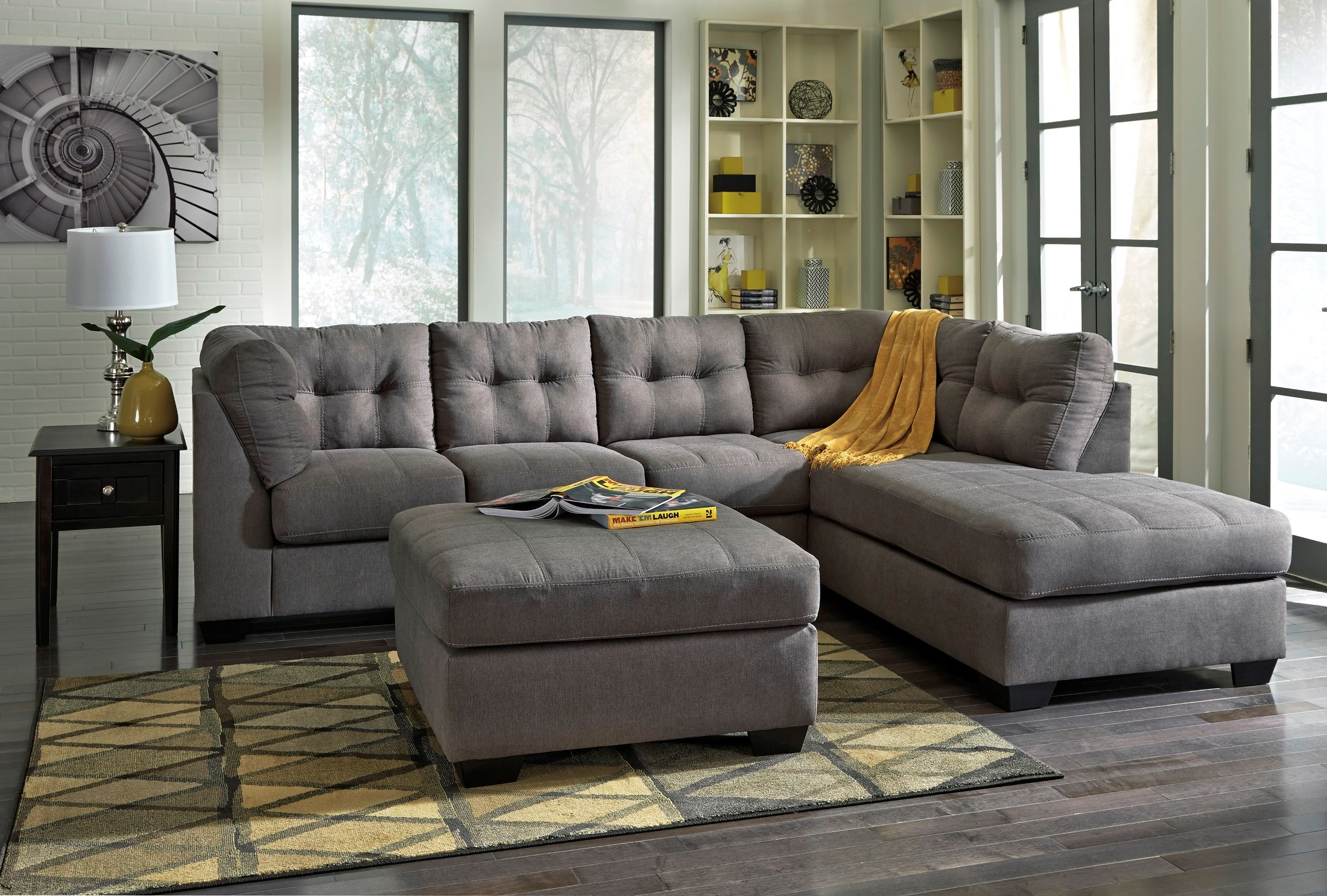 Preferred Mcdade Graphite Sofa Chairs Inside Laf Sectional Mcdade Ash 2 Piece W Chaise Living Spaces – Acwc (View 14 of 20)