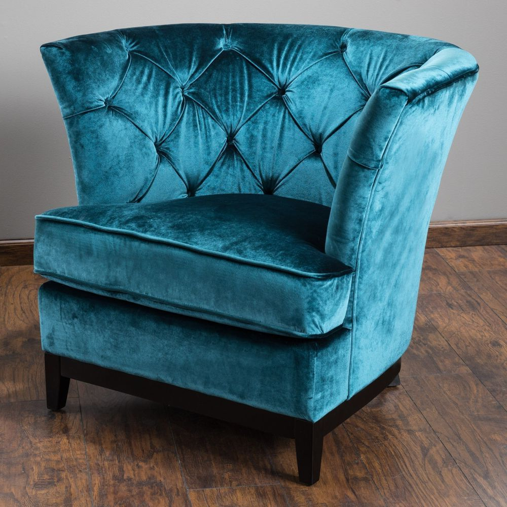 Preferred Round Sofa Chair Living Room Furniture Inside Living Room Furniture Teal Blue Tufted Velvet Round Sofa Arm Chair (Gallery 2 of 20)