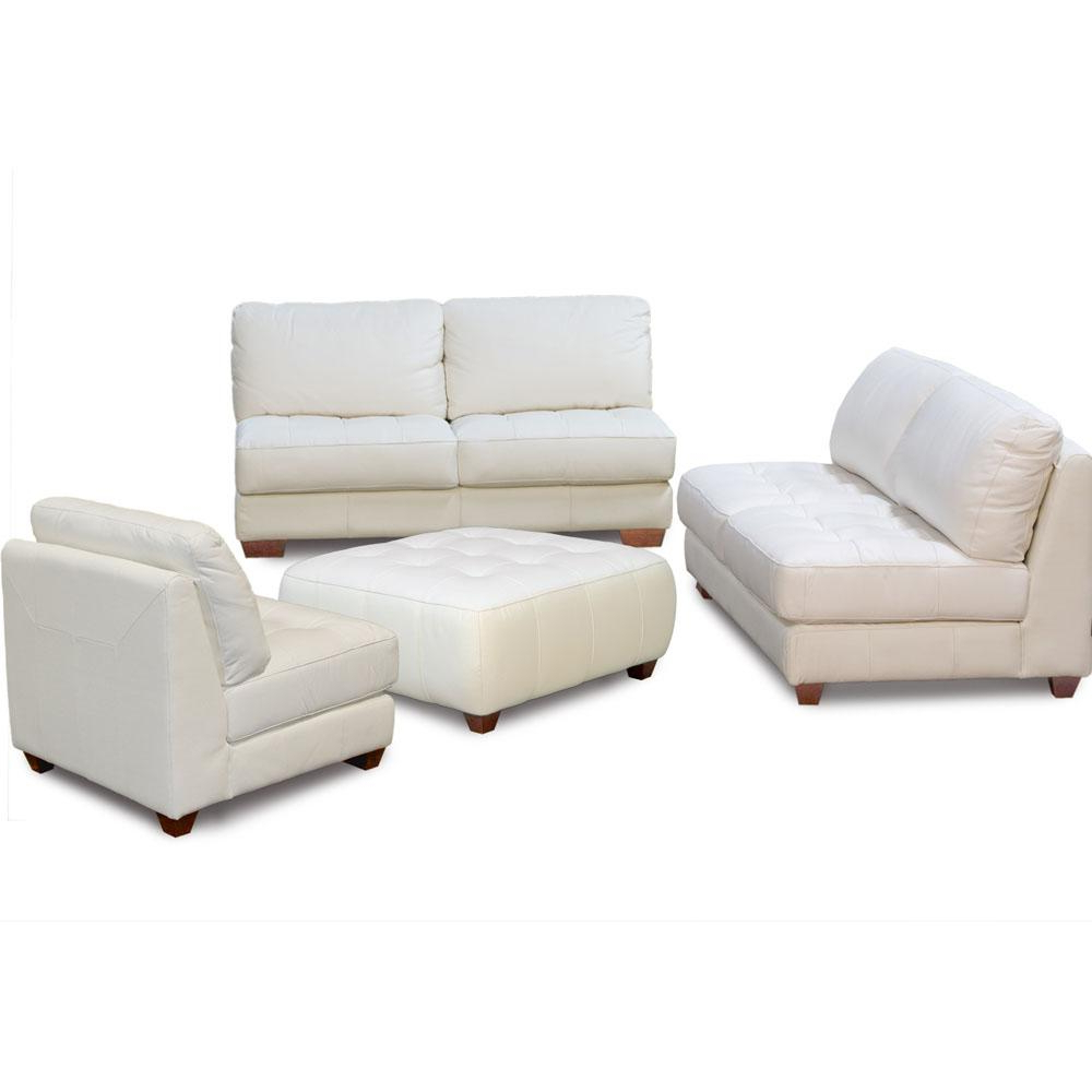 Preferred Sofa Chair With Ottoman Pertaining To Zen Collection Armless All Leather Tufted Seat Sofa Loveseat Chair (View 16 of 20)