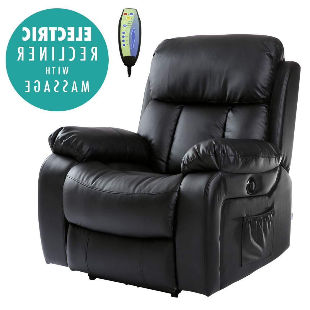 Recent Chester Black Electric Heated Leather Massage Power Recliner Chair With Sofa Chair Recliner (Gallery 14 of 20)