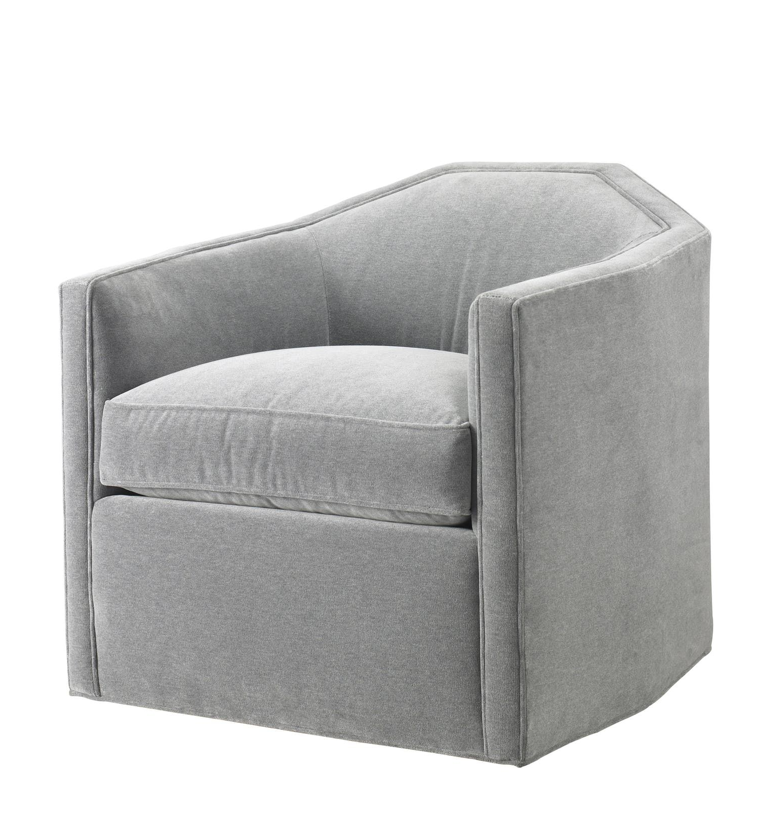 Recent Circuit Swivel Accent Chairs Pertaining To Contemporary Grey Velvet Upholstered Swivel Chair (View 4 of 20)