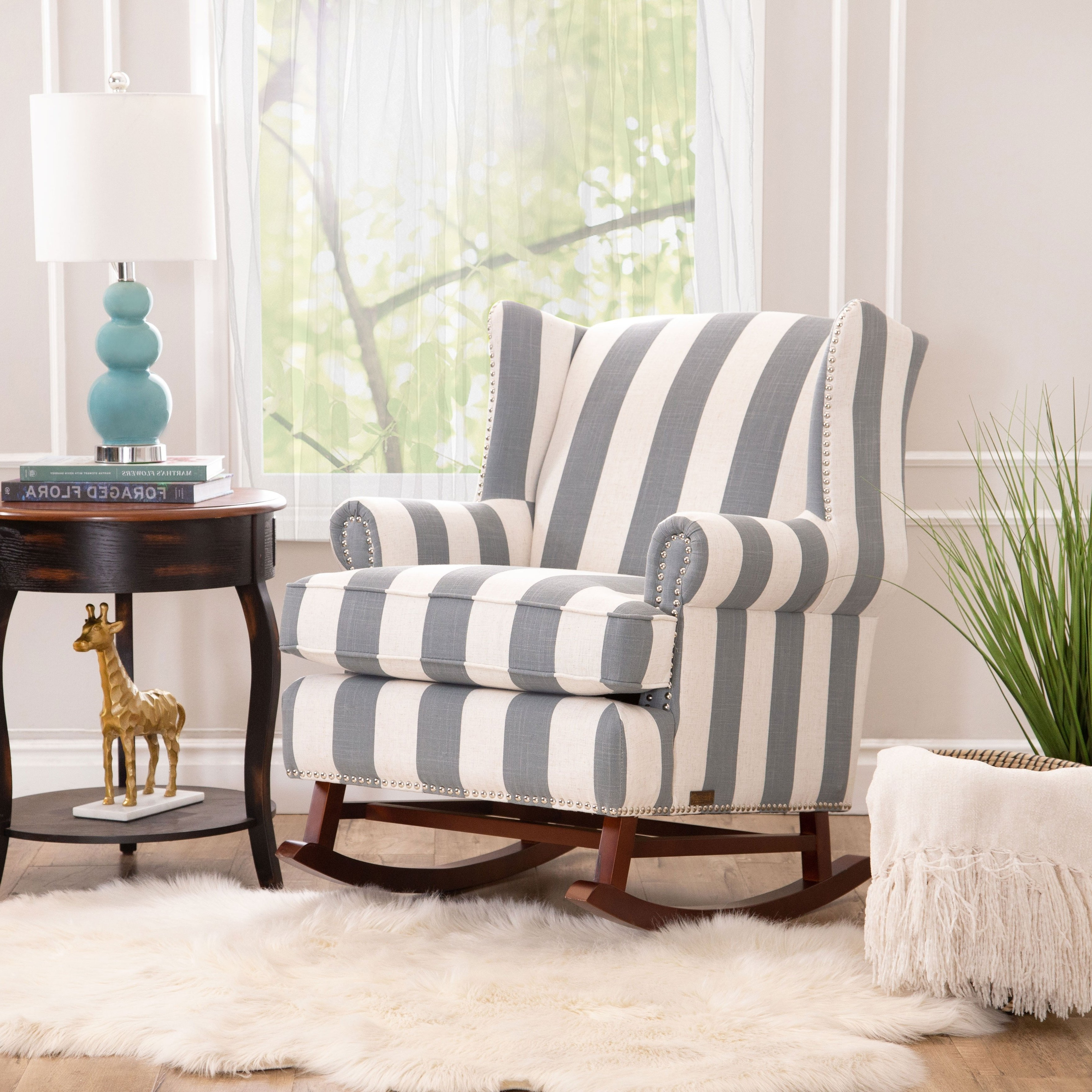 Recent Katrina Beige Swivel Glider Chairs Within Shop Abbyson Radcliffe Two Tone Fabric Rocker Chair – On Sale – Free (View 13 of 20)