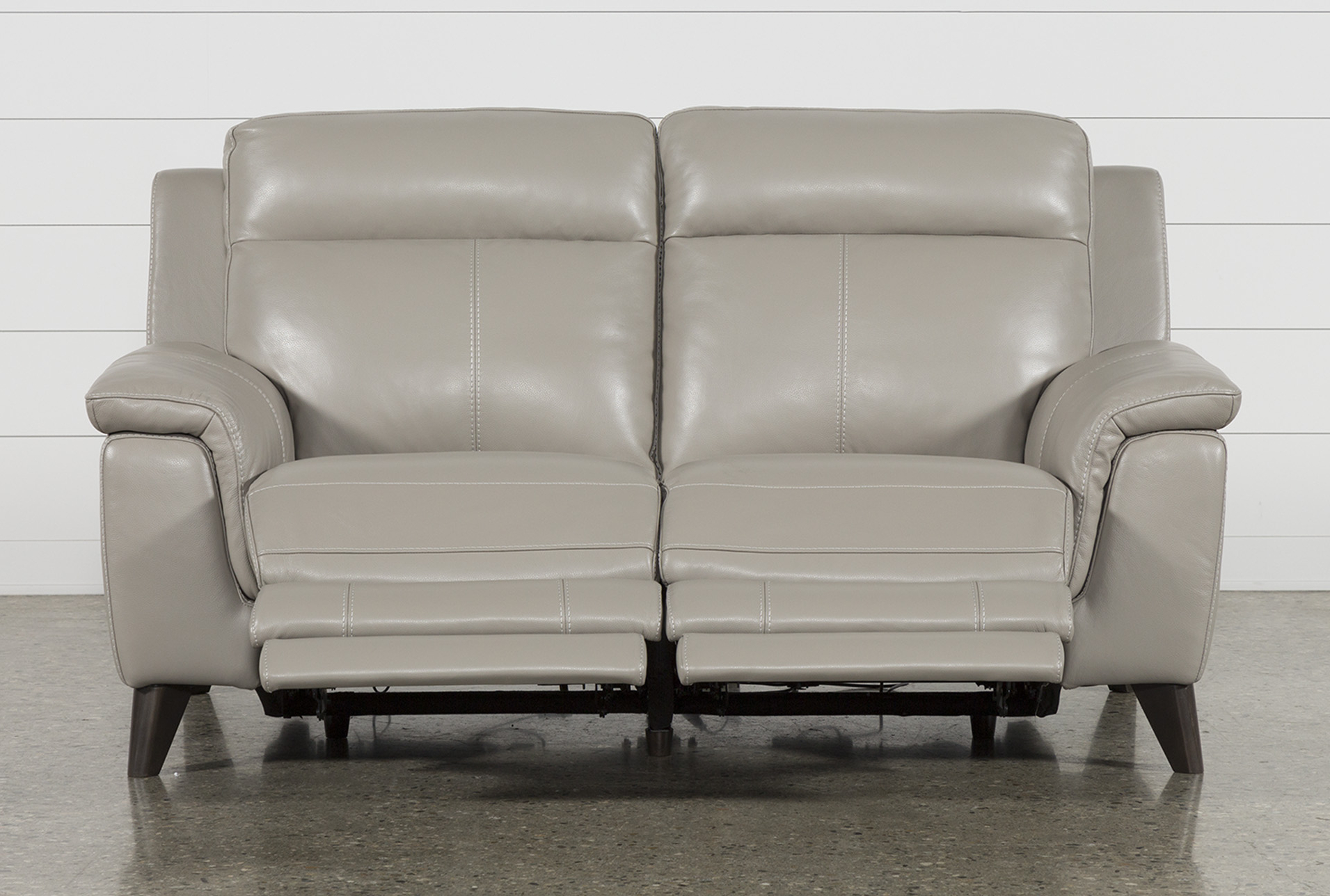 Featured Photo of Moana Taupe Leather Power Reclining Sofa Chairs With Usb