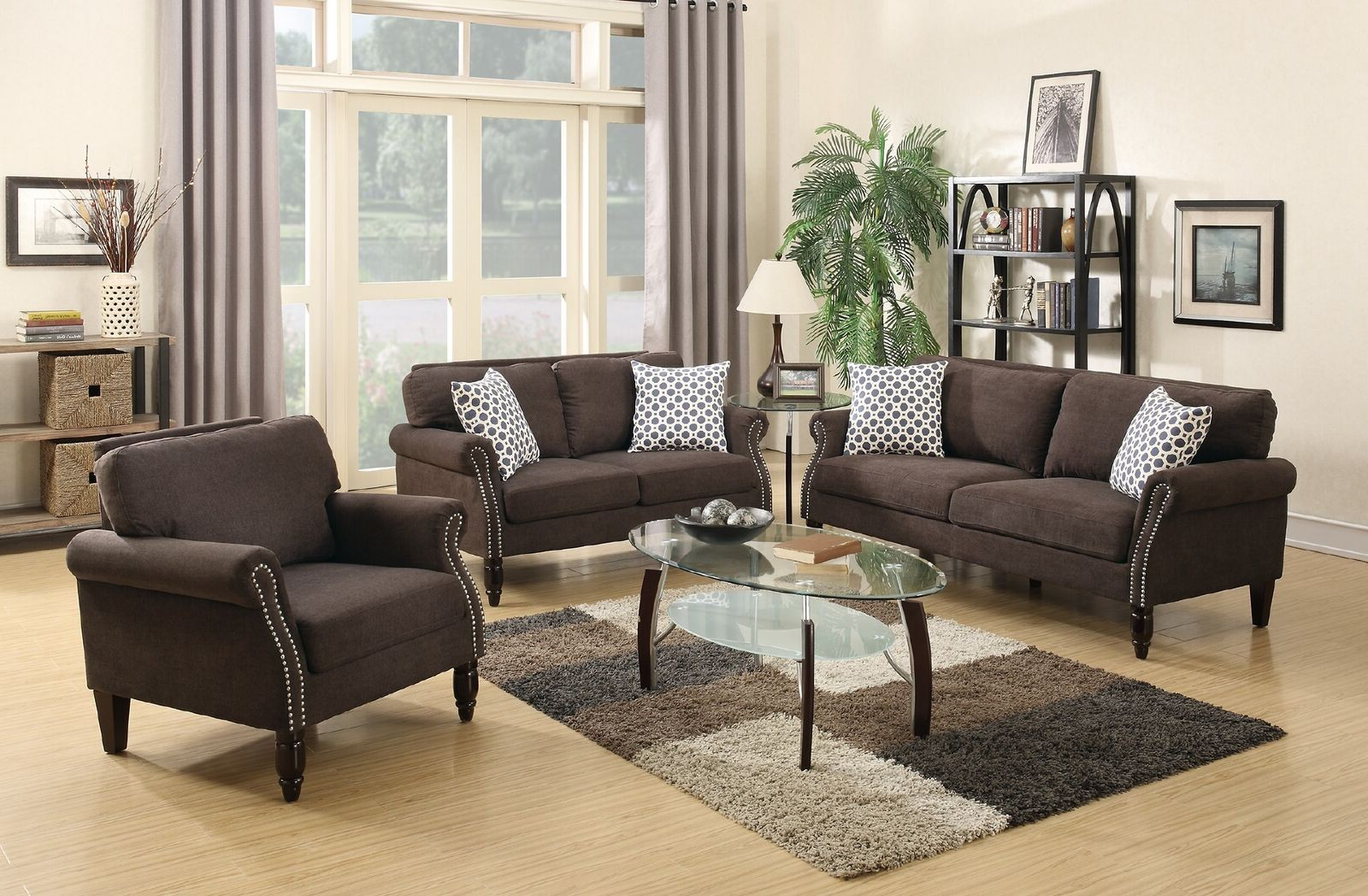 Recent Sofa Loveseat And Chair Set Within 3Pcs Dark Brown Sofa Loveseat Chair Set Lowest Price – Sofa (View 13 of 20)