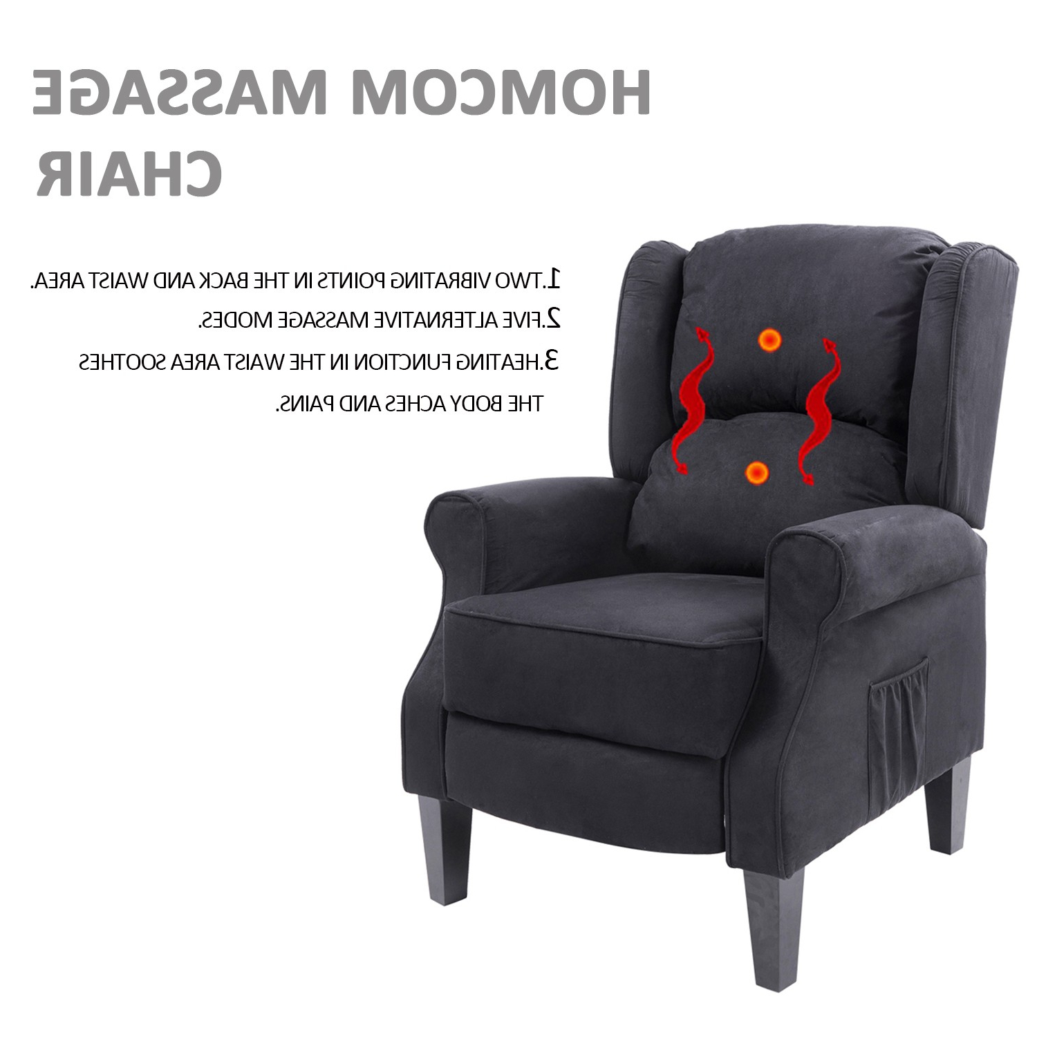 Recliner Sofa Chairs With Regard To Current Homcom Heated Vibrating Suede Massage Recliner Sofa Chair Body (View 12 of 20)