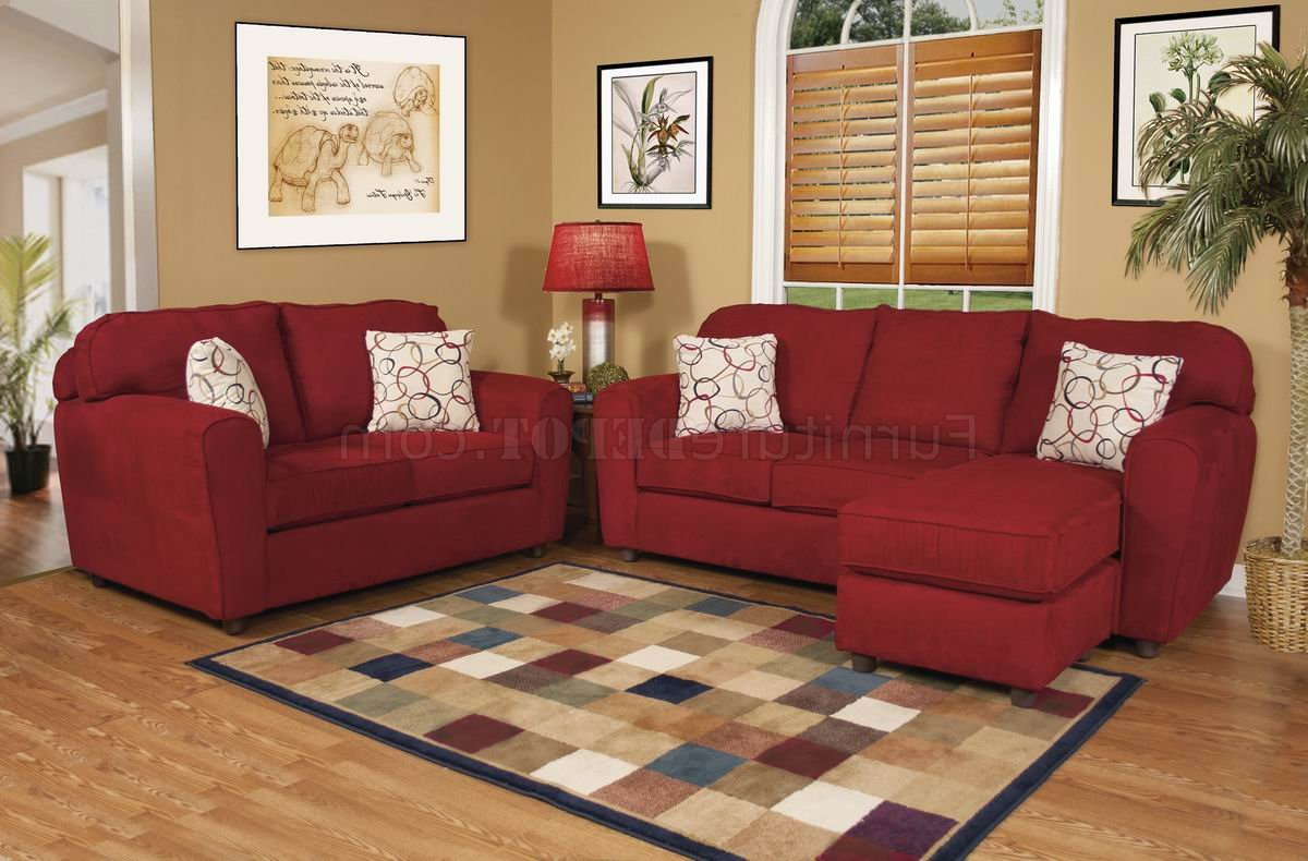 Red Fabric Modern Sofa & Loveseat Set W/options Pertaining To Widely Used Red Sofas And Chairs (View 11 of 20)
