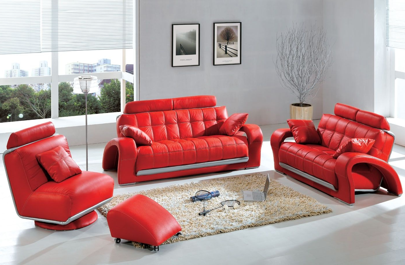Red Sofas And Chairs Within Well Known Modern & Contemporary Leather Sofa & Sectional Sets (View 16 of 20)