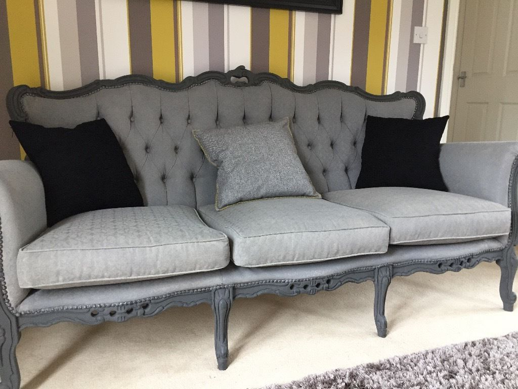 Rococo Italian Sofa – Vintage Shabby Chic In Classic Grey (View 14 of 20)