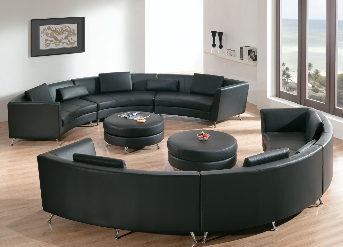 Round Sofa Chair Living Room Furniture With Regard To Most Up To Date Impressive Chic Living Room With Leather Round Sectional Sofa With (View 16 of 20)