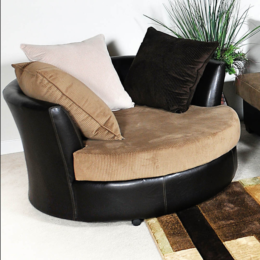 Round Sofa Chairs Pertaining To Most Recent Small Set Brown Design Leather Table Grey Couch Swivel Round Cover (View 18 of 20)