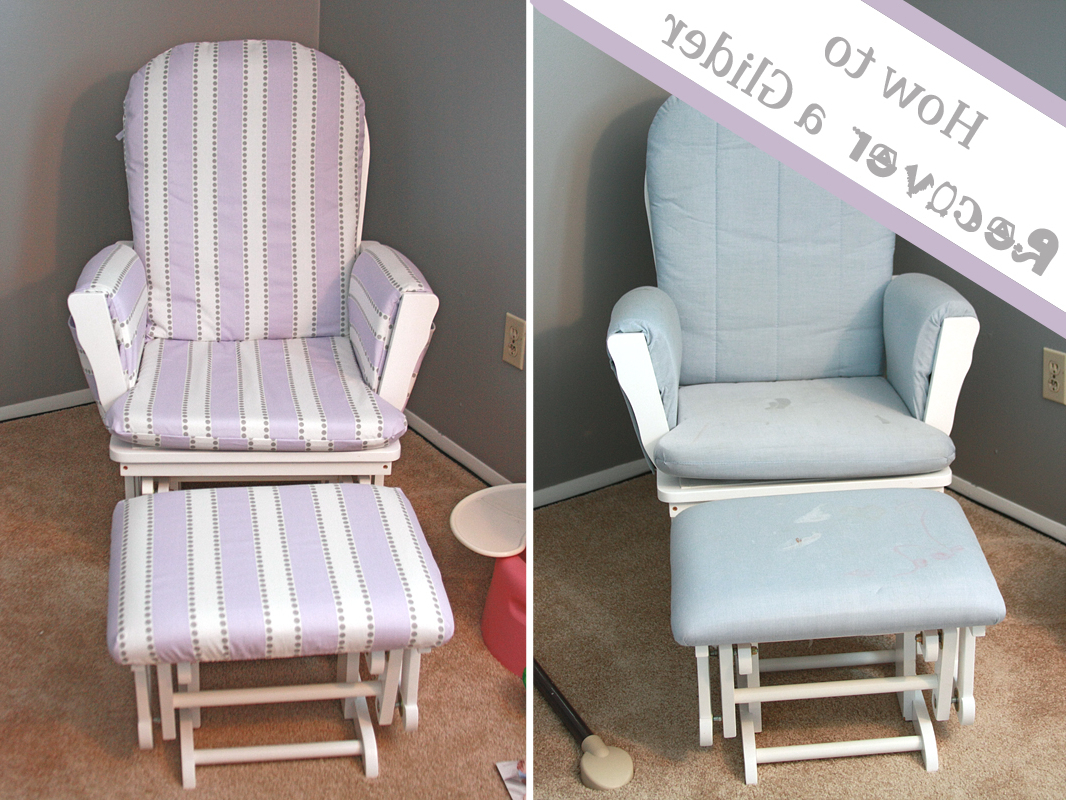 Runs With Spatulas: Crafty Fridays: How To Recover A Glider Inside Most Up To Date Katrina Grey Swivel Glider Chairs (View 14 of 20)