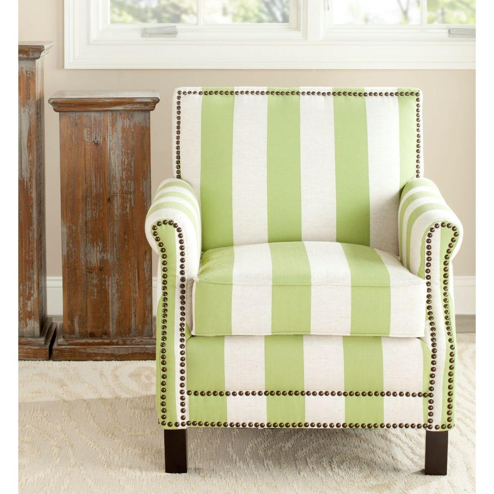 Safavieh Easton Green & Cream Linen Club Arm Chair Mcr4572C – The Regarding 2018 Mansfield Beige Linen Sofa Chairs (View 8 of 20)