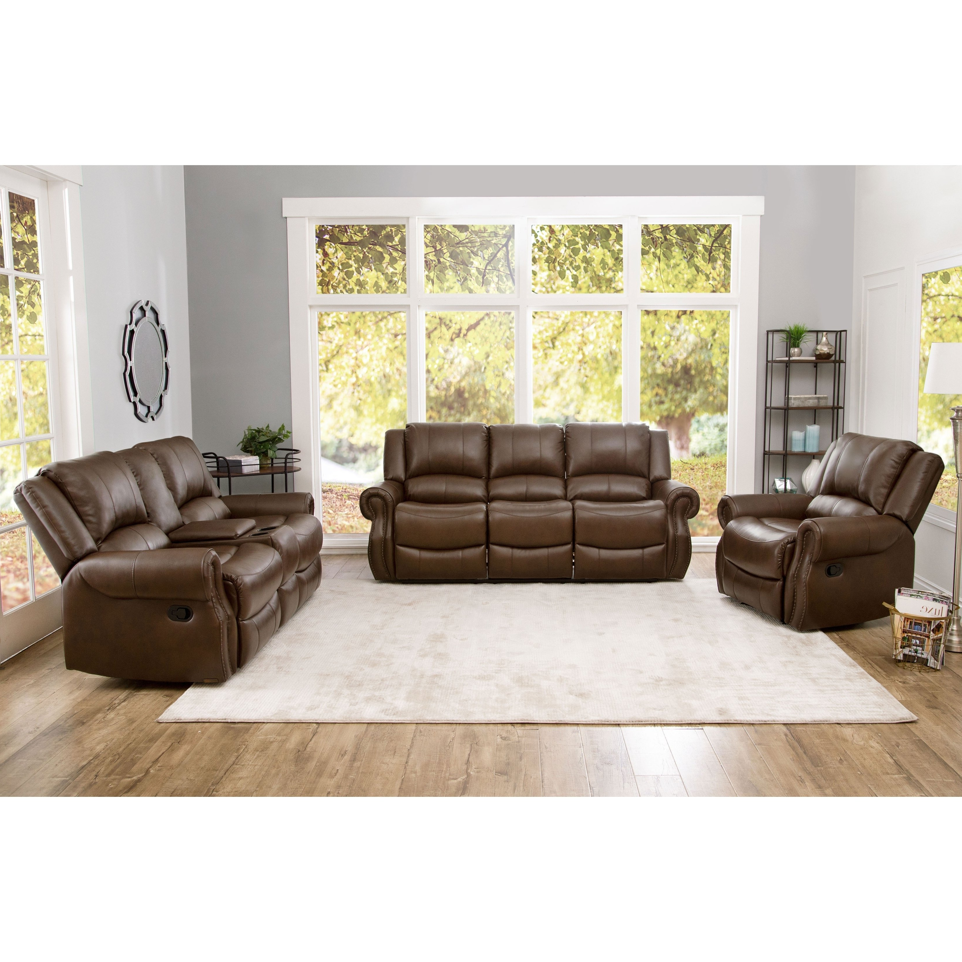 Shop Abbyson Calabasas Mesa Brown Leather 3 Piece Reclining Living With Regard To Well Known Mesa Foam Oversized Sofa Chairs (Gallery 12 of 20)