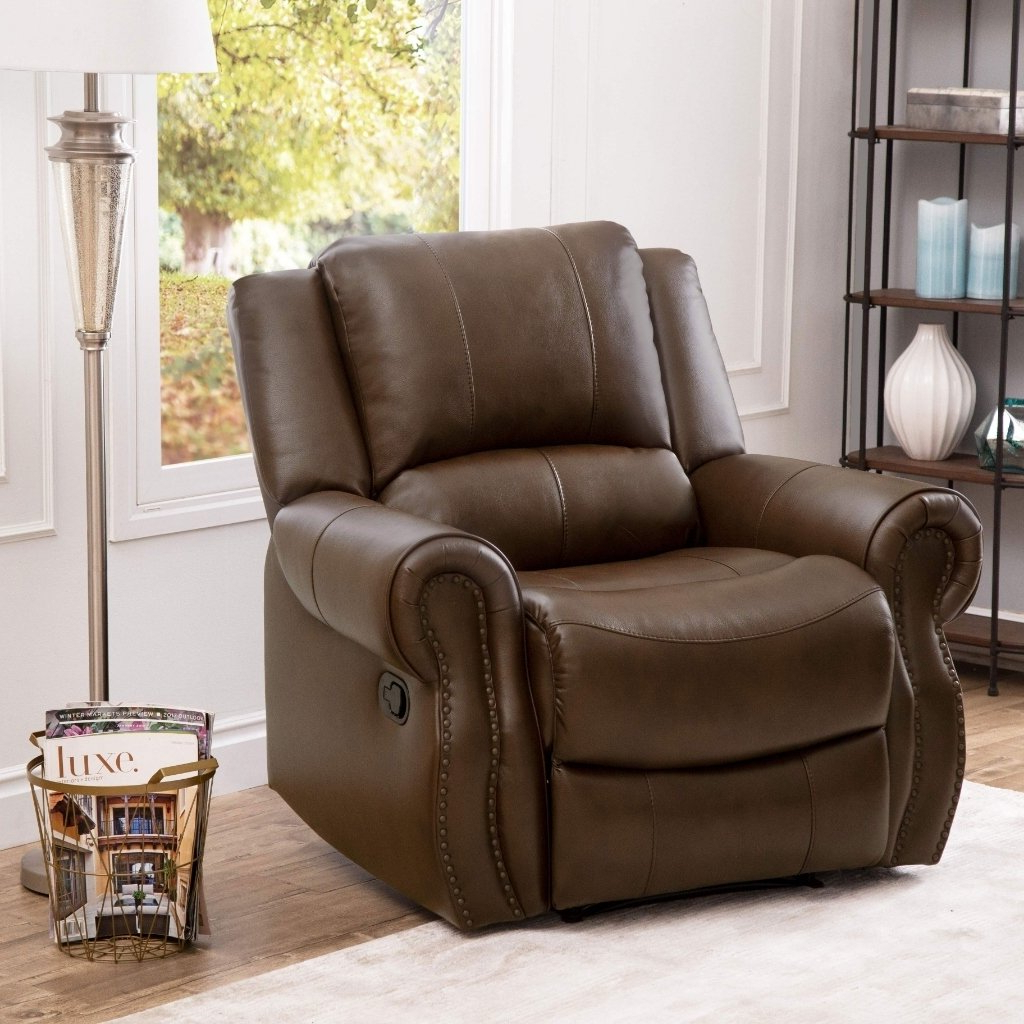 Shop Abbyson Calabasas Mesa Brown Leather Recliner – On Sale – Free With Recent Mesa Foam Oversized Sofa Chairs (View 18 of 20)