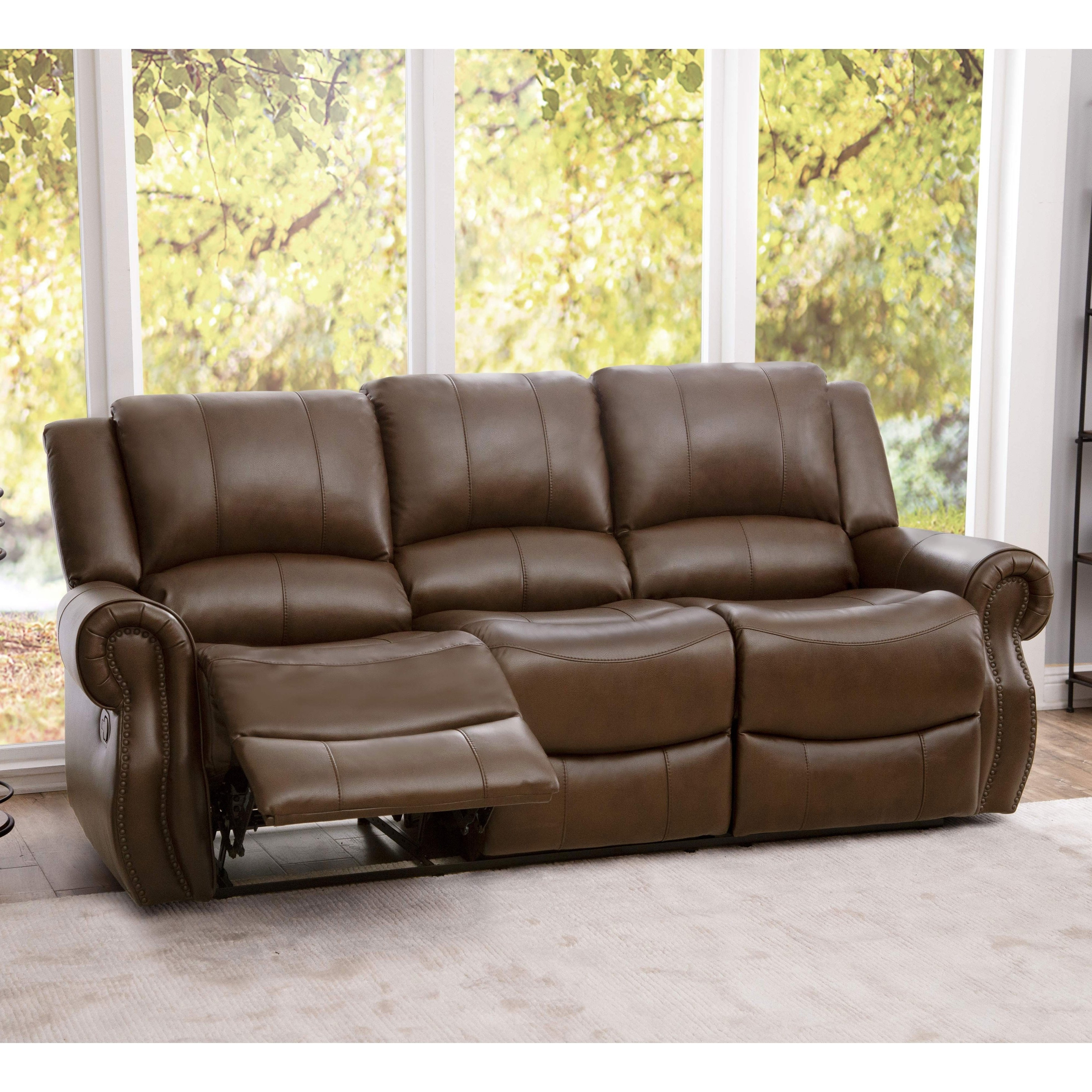 Shop Abbyson Calabasas Mesa Brown Leather Reclining Sofa – On Sale With Preferred Mesa Foam Oversized Sofa Chairs (View 10 of 20)