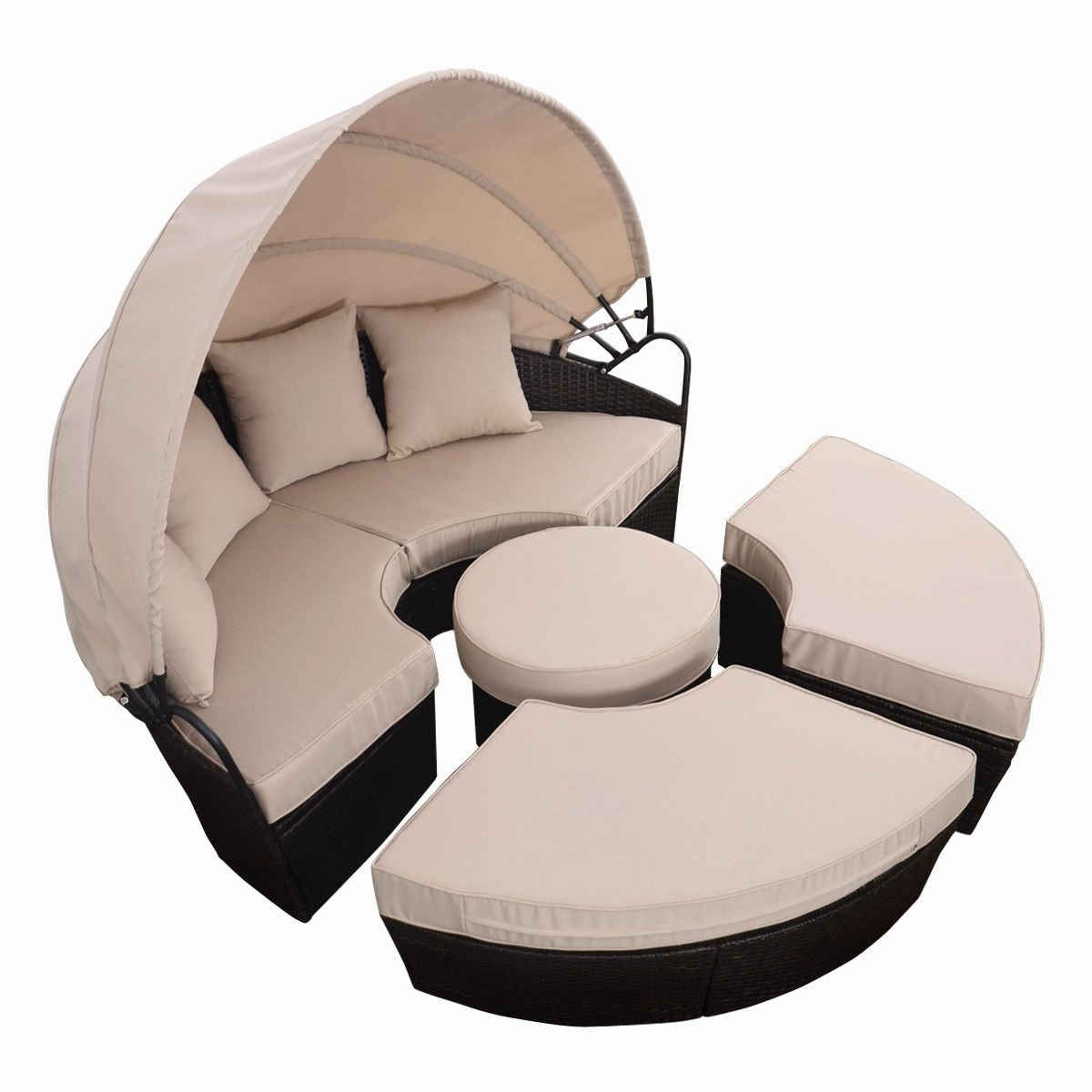 Shop Costway Rattan Sofa Furniture Round Retractable W/canopy Daybed Within Recent Round Sofa Chairs (View 9 of 20)