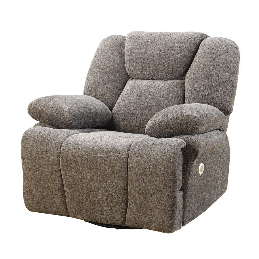 Shop Emerald Home Caressa Grey Power Swivel Glider Recliner – Free Within Most Up To Date Caressa Leather Dove Grey Sofa Chairs (Gallery 13 of 20)
