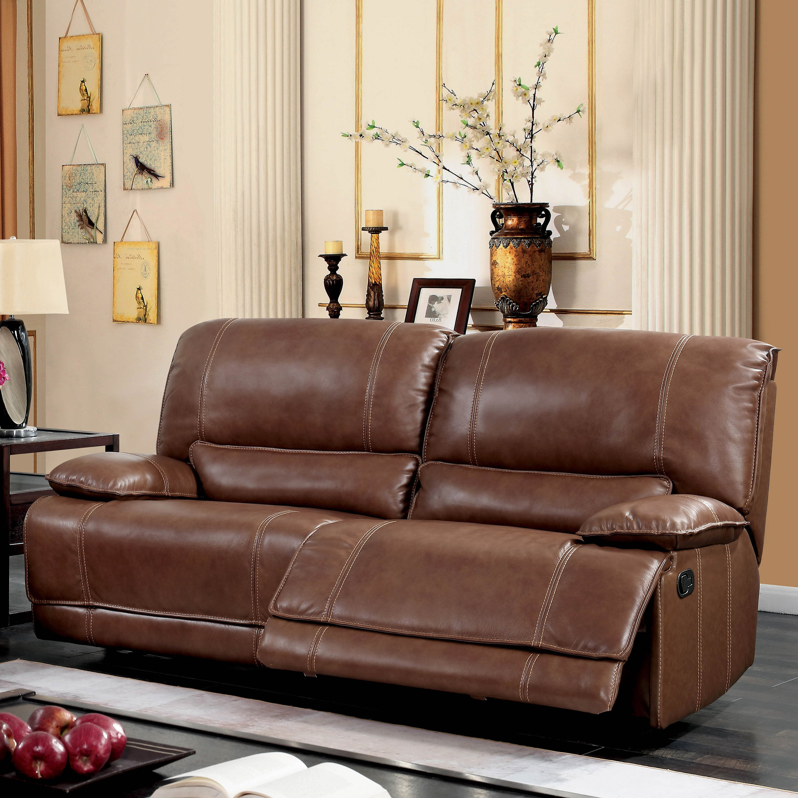 Shop Furniture Of America Sierra Brown Leather Match Reclining Sofa Inside 2018 Sierra Foam Ii Oversized Sofa Chairs (Gallery 13 of 20)