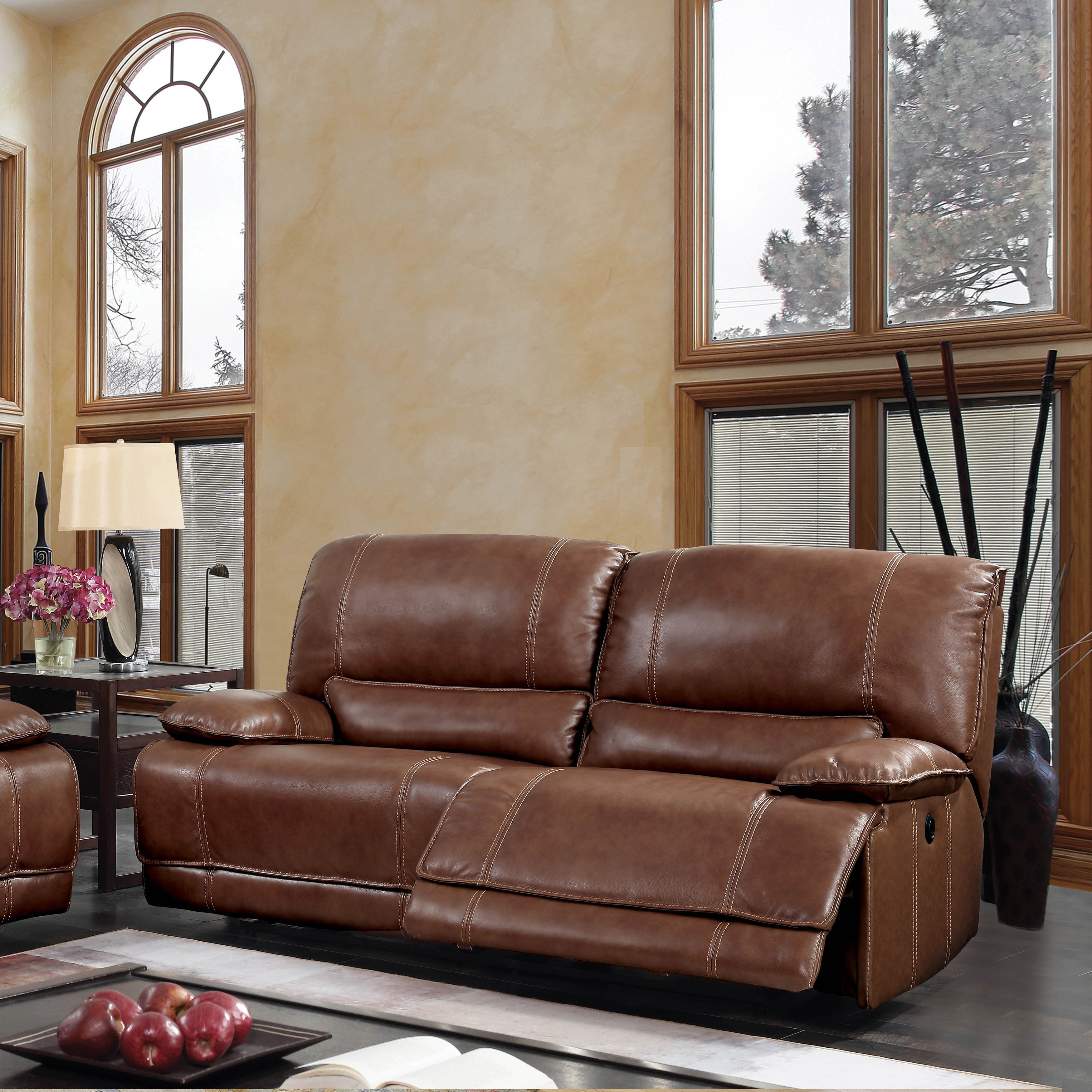Shop Furniture Of America Sierra Brown Leather Usb Power Assist Sofa In Well Known Sierra Foam Ii Oversized Sofa Chairs (Gallery 14 of 20)