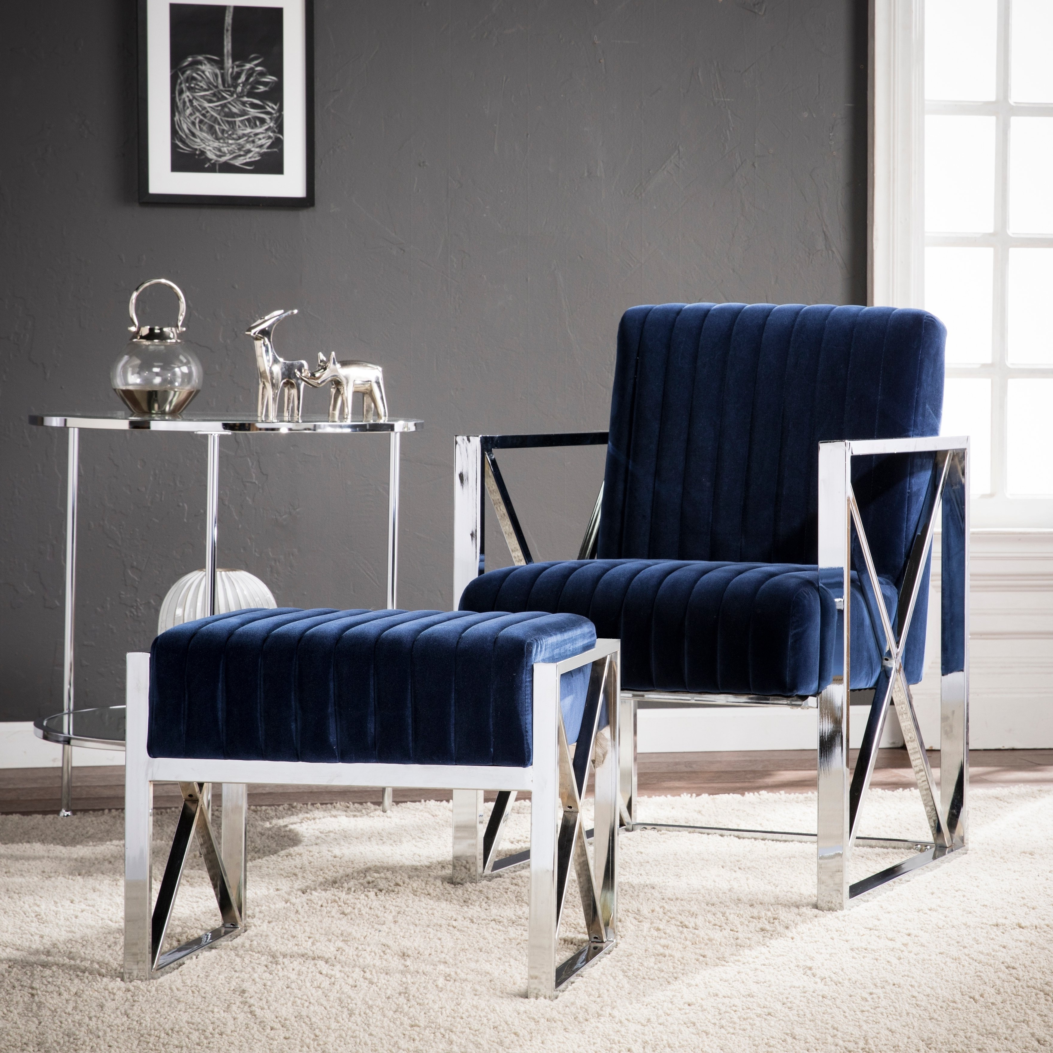 Shop Harper Blvd Edgebrook Blue With Chrome Velveteen Accent Chair Regarding Most Recent Harper Down Oversized Sofa Chairs (View 14 of 20)