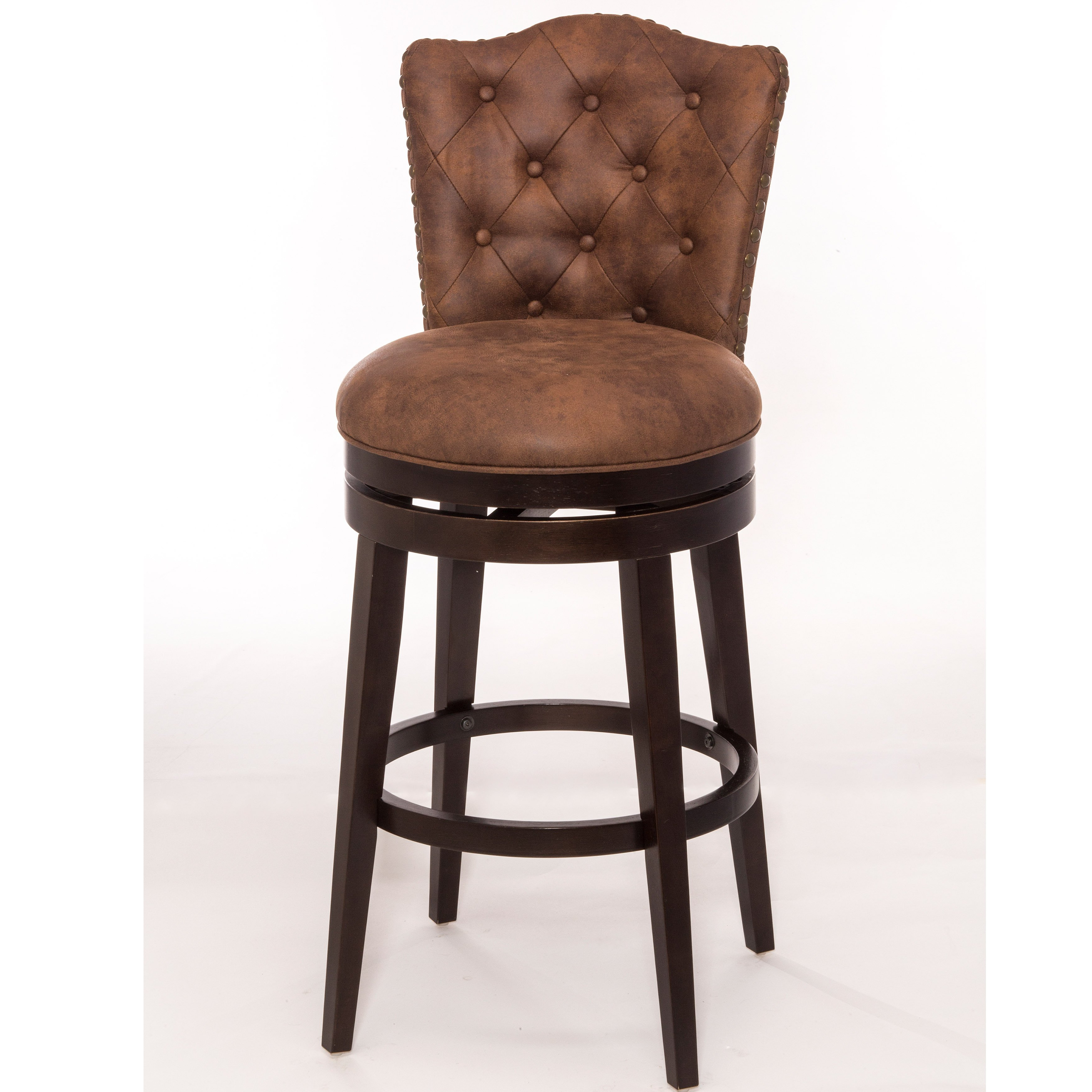 Shop Hillsdale Furniture Edenwood Swivel Bar Stool, Chocolate With Inside Preferred Chocolate Brown Leather Tufted Swivel Chairs (View 17 of 20)