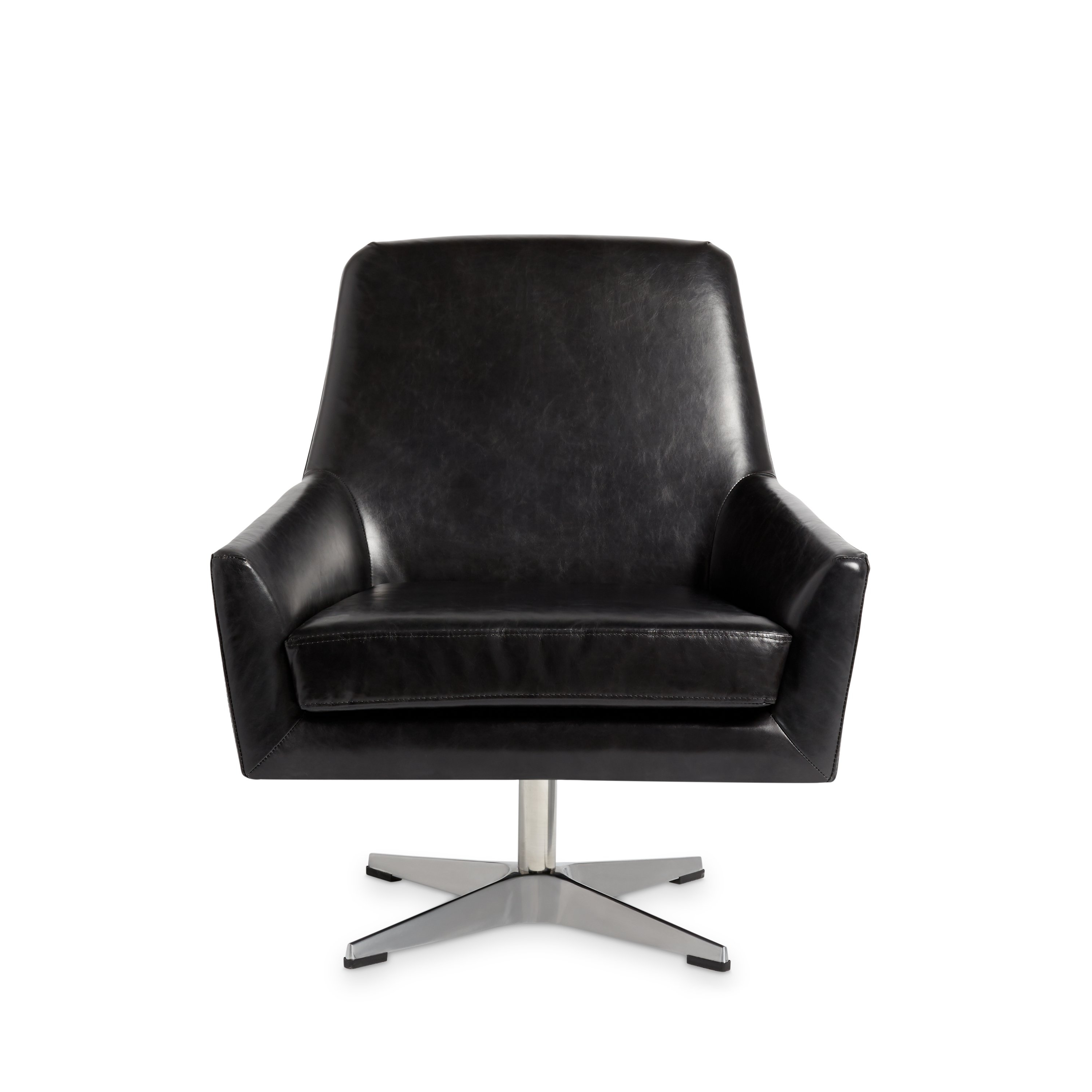 Shop Jasper Laine Lisbon Off Black Leather Swivel Chair – Free With Regard To Preferred Leather Black Swivel Chairs (Gallery 4 of 20)