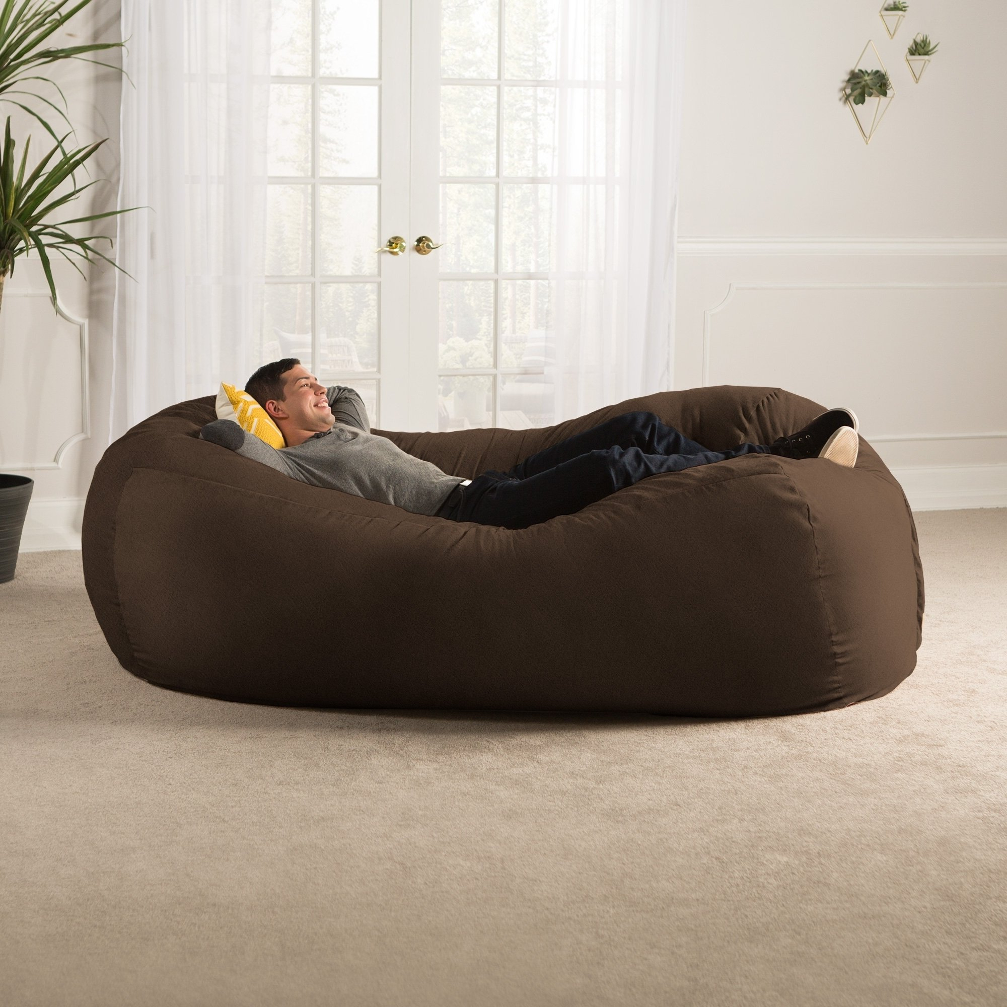 Shop Jaxx 7' Bean Bag Sofa – Free Shipping Today – Overstock With Favorite Bean Bag Sofa Chairs (View 16 of 20)