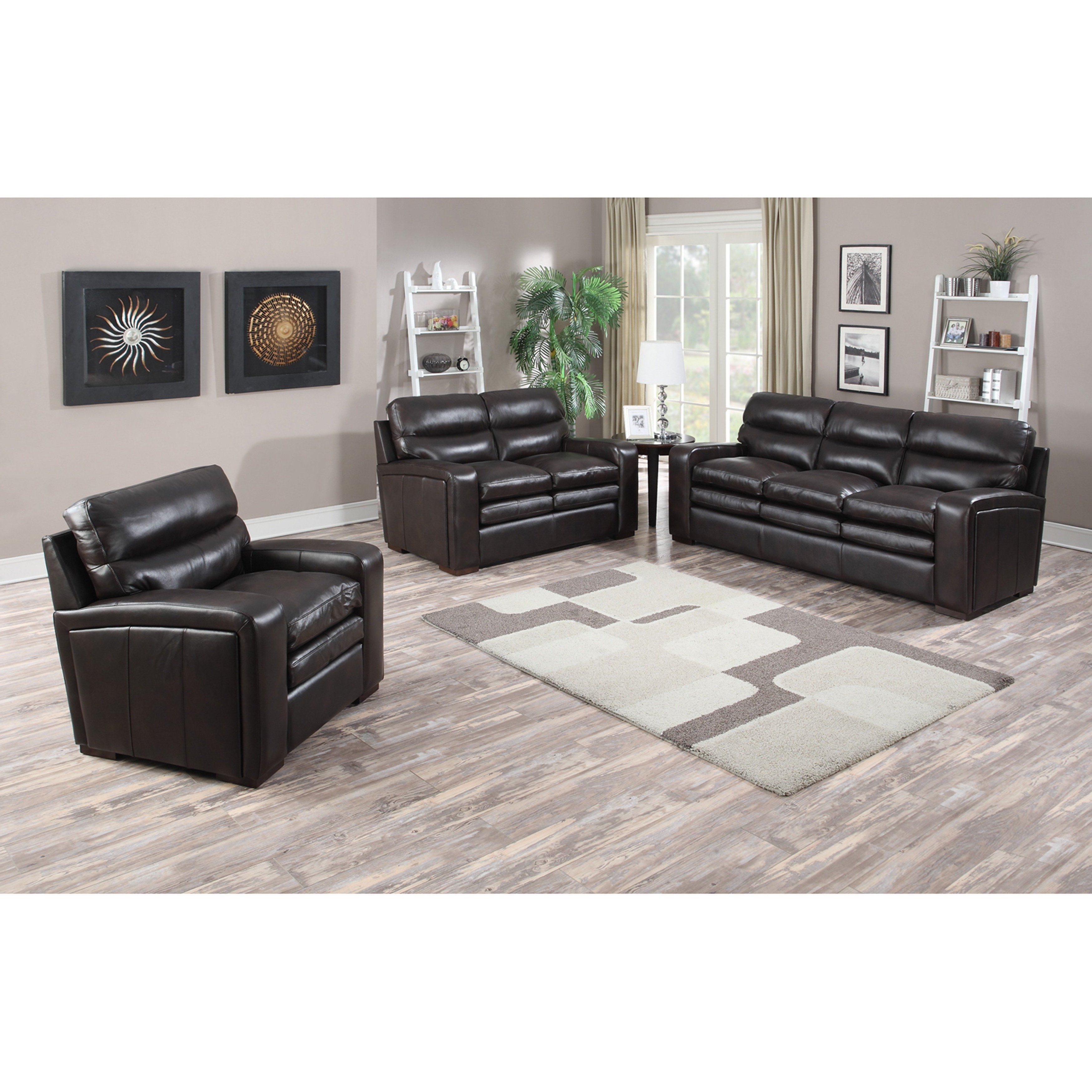 Shop Mercer Dark Brown Italian Leather Sofa, Loveseat And Chair Pertaining To Best And Newest Mercer Foam Oversized Sofa Chairs (View 16 of 20)