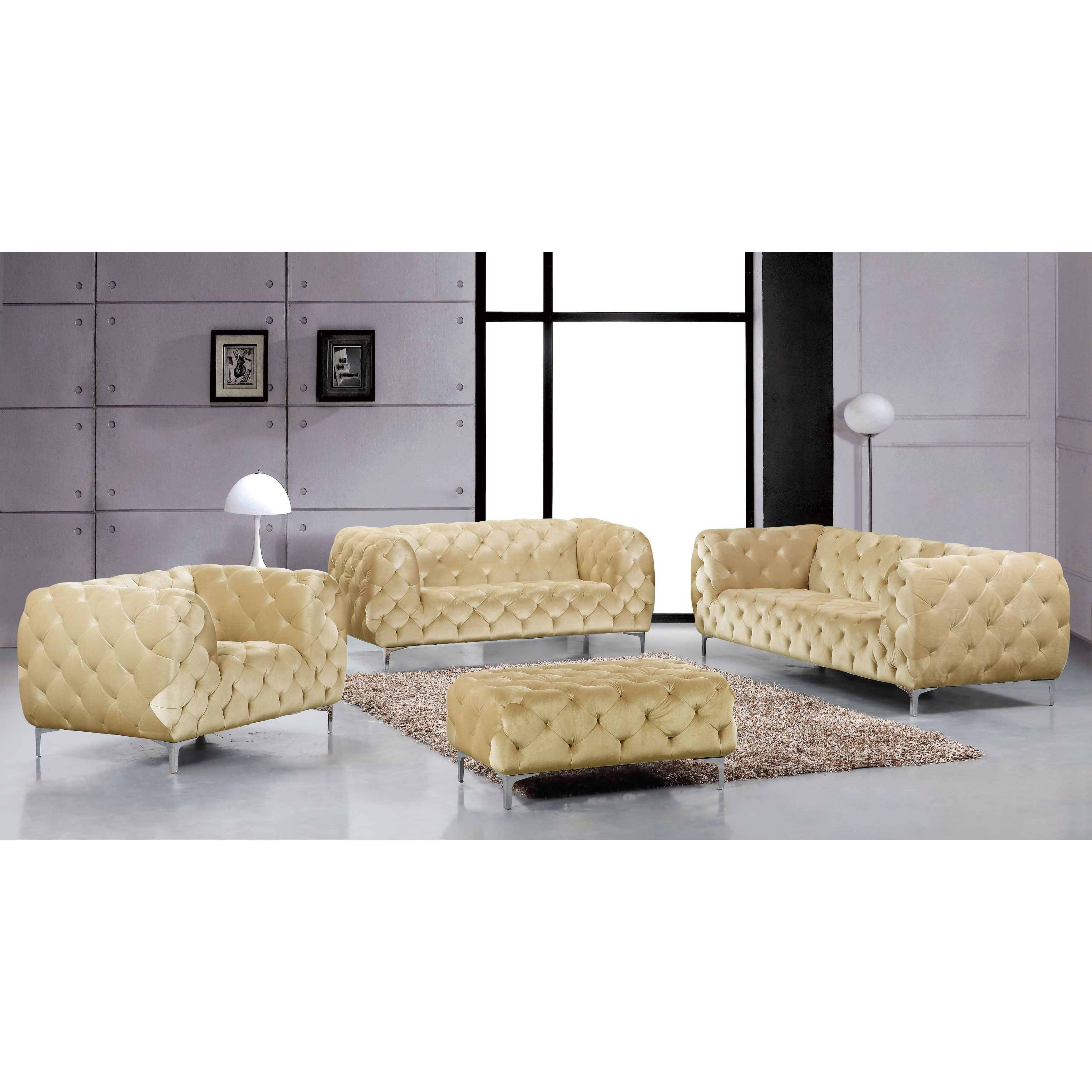 Shop Meridian Mercer Beige Velvet 4 Piece Furniture Set – Free Inside Fashionable Mercer Foam Oversized Sofa Chairs (View 17 of 20)