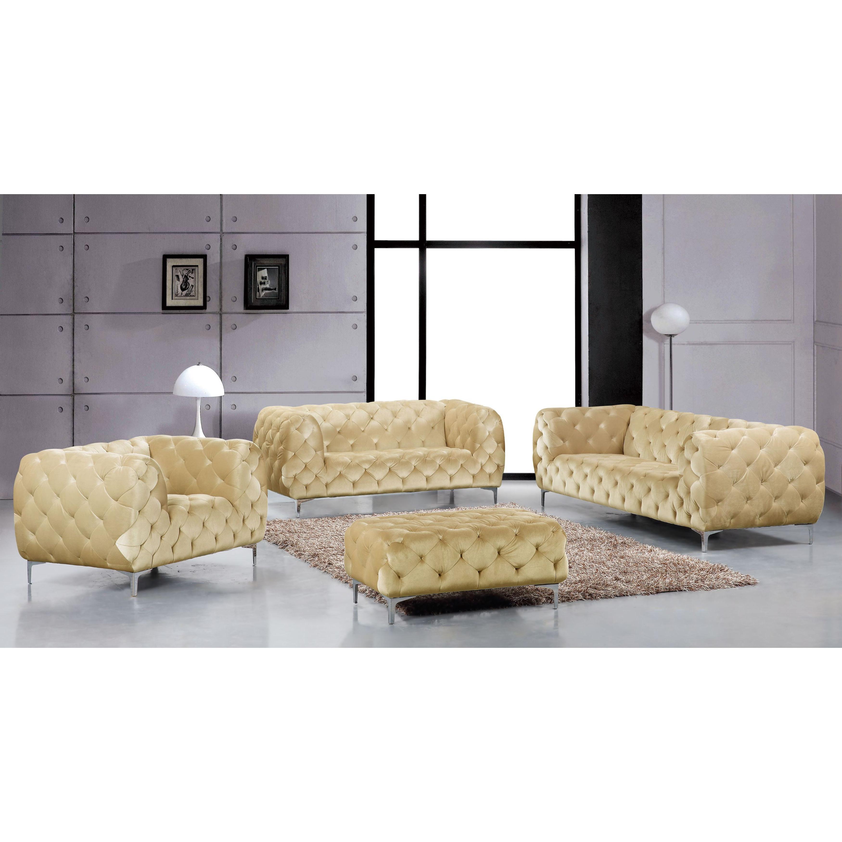 Shop Meridian Mercer Beige Velvet 4 Piece Furniture Set – Free Inside Fashionable Mercer Foam Oversized Sofa Chairs (Gallery 18 of 20)