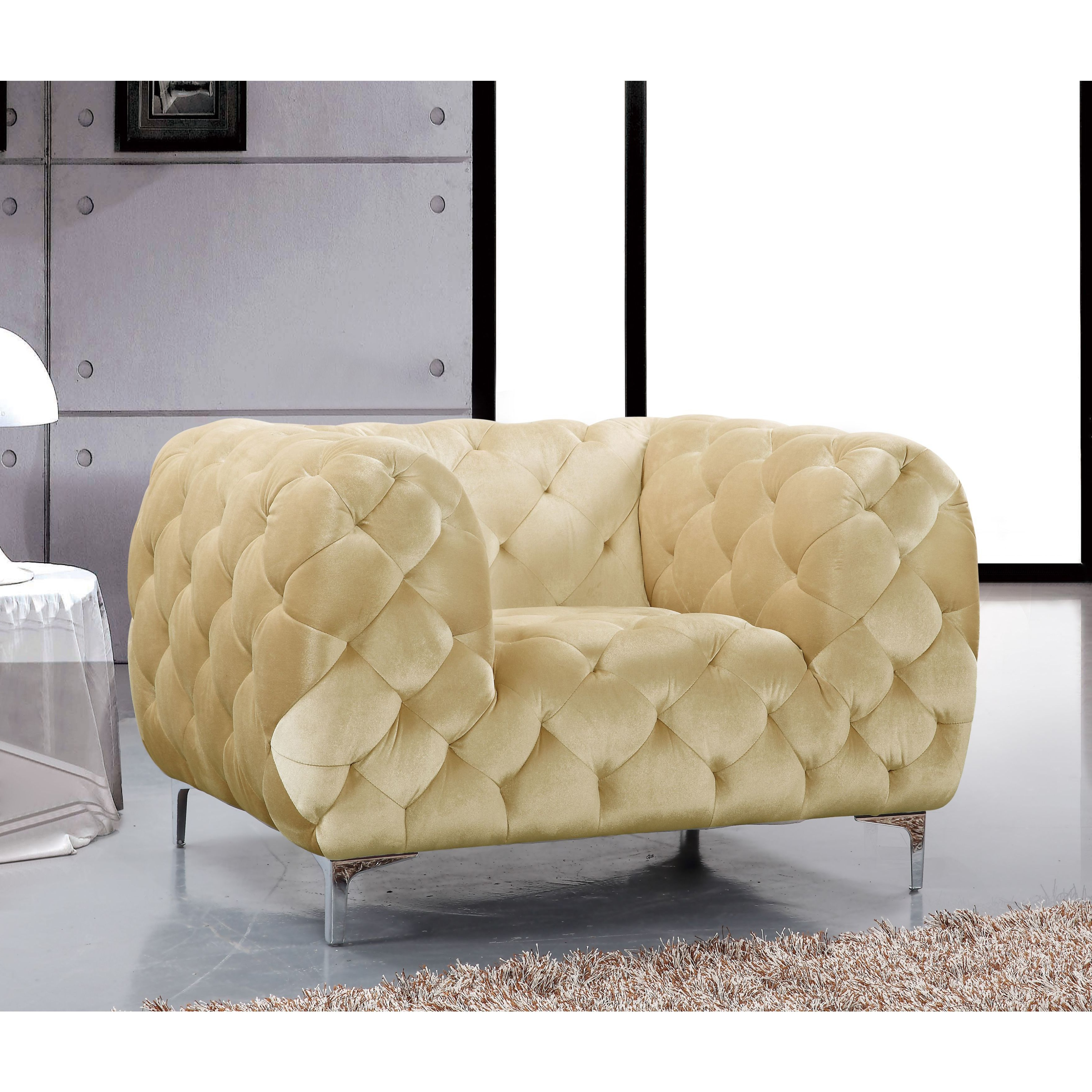 Shop Meridian Mercer Beige Velvet Tufted Chair – Free Shipping Today Inside Popular Mercer Foam Swivel Chairs (View 19 of 20)