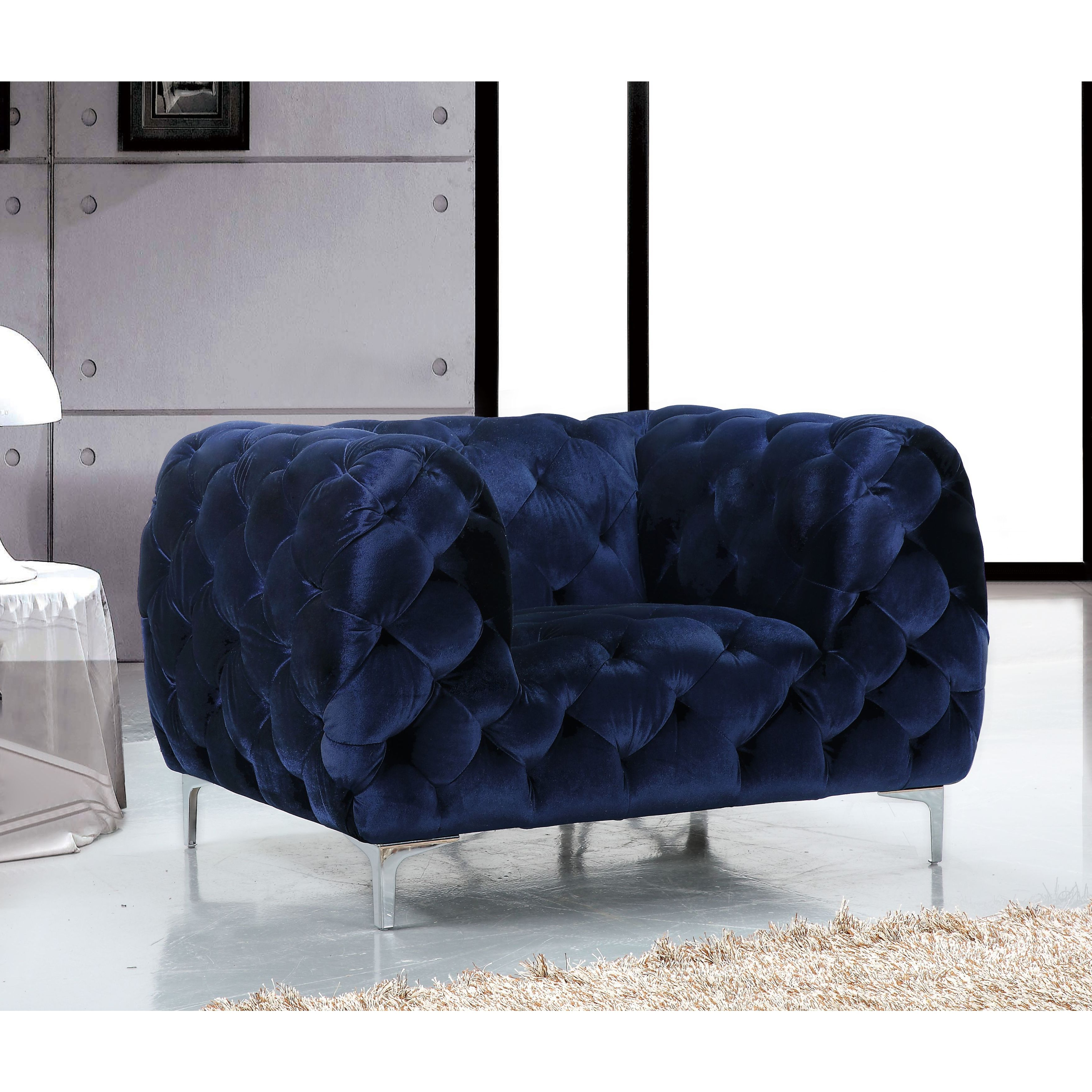 Shop Meridian Mercer Blue Velvet Tufted Chair – Free Shipping Today With Most Up To Date Mercer Foam Oversized Sofa Chairs (Gallery 9 of 20)