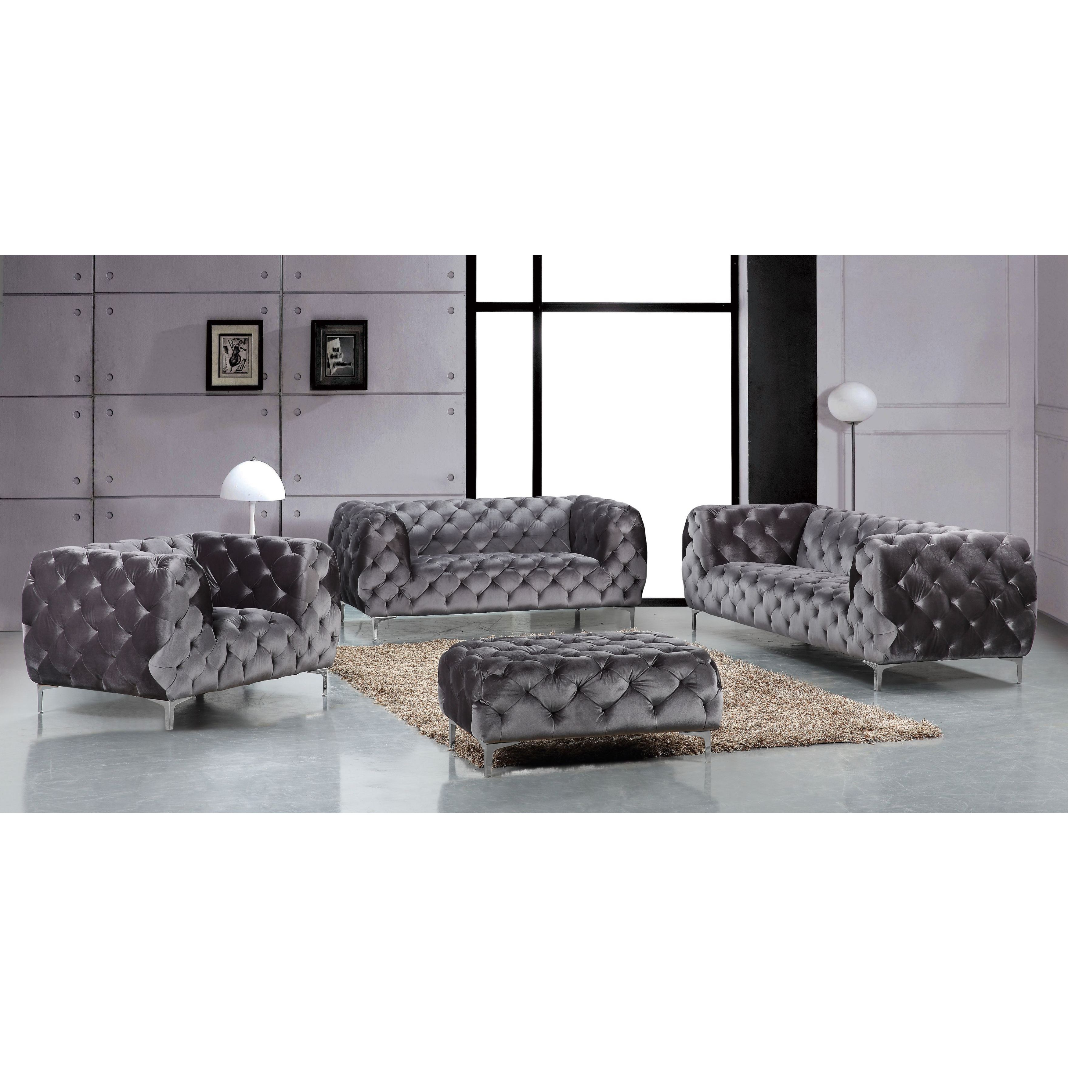 Shop Meridian Mercer Grey Velvet 4 Piece Furniture Set – Free Throughout Most Popular Mercer Foam Oversized Sofa Chairs (View 19 of 20)