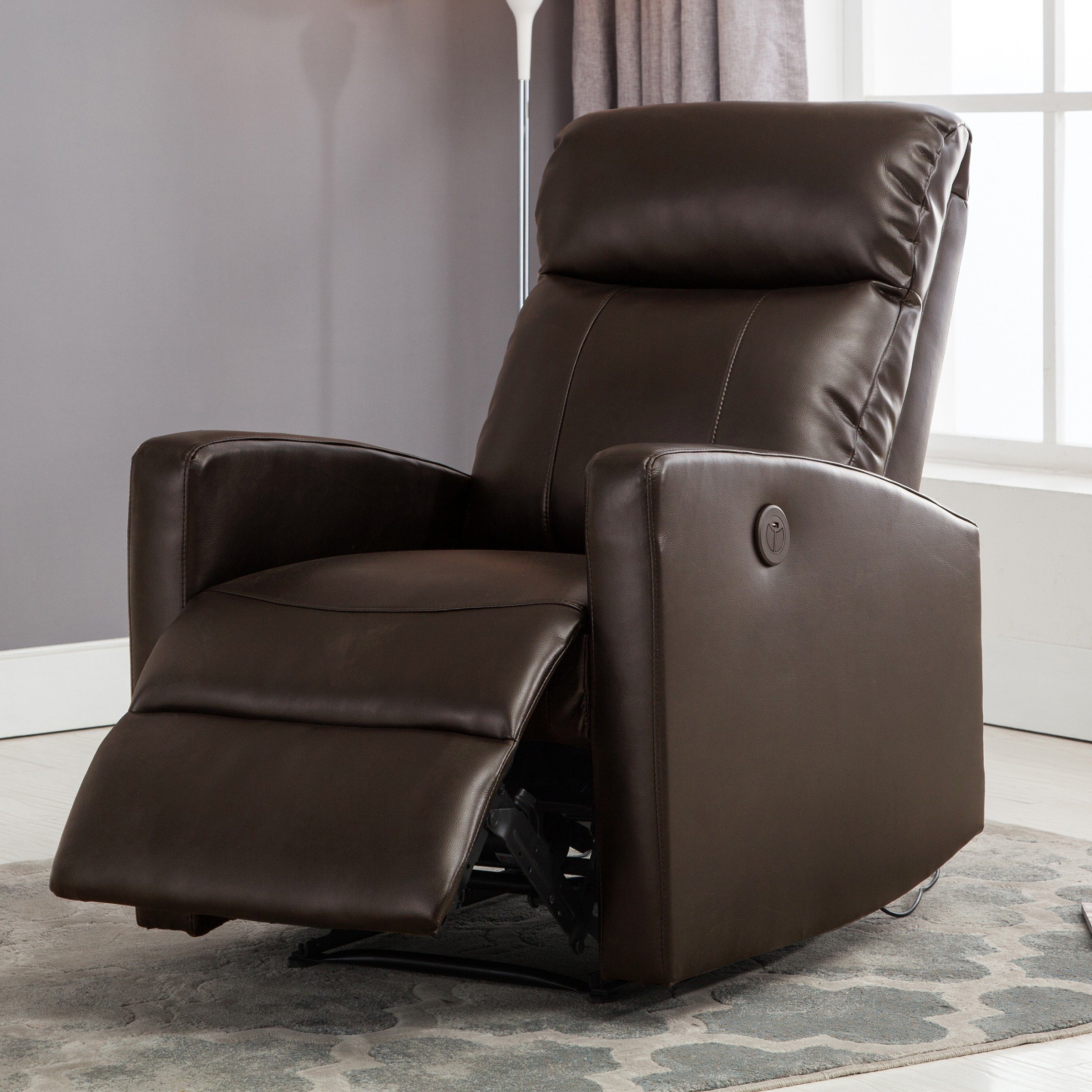 Shop Sean Black Small Reading Power Recliner – Free Shipping Today With Current Gannon Linen Power Swivel Recliners (Gallery 9 of 20)