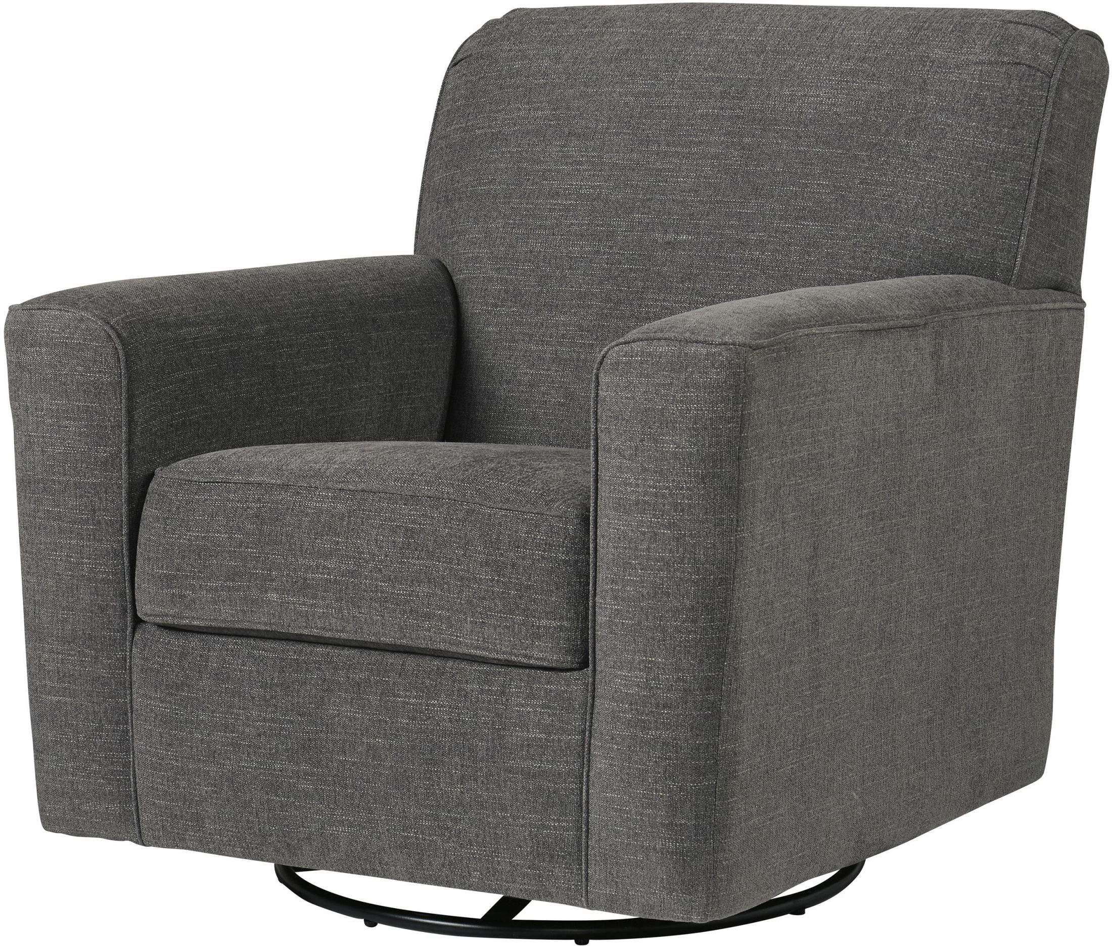 Signature Designashley Alcona Charcoal Swivel Glider Accent Inside Latest Charcoal Swivel Chairs (Gallery 7 of 20)