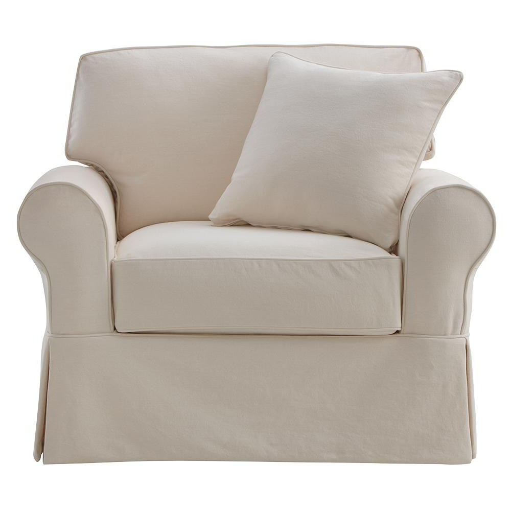 Slipcovers For Chairs And Sofas Throughout Favorite Home Decorators Collection Mayfair Classic Natural Fabric Arm Chair (View 14 of 20)