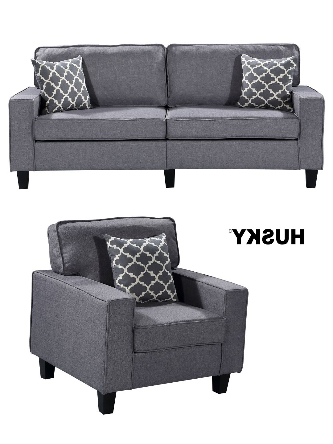 Sofa And Chair Set For Best And Newest Zara 2 Pc Sofa And Chair Set – Gray – Husky® Furniture And Mattresses (Gallery 8 of 20)