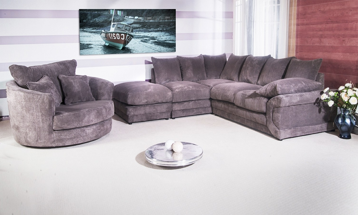Sofa Bed Boston Energywarden Pertaining To Corner Sofa And Swivel Chairs (View 9 of 20)