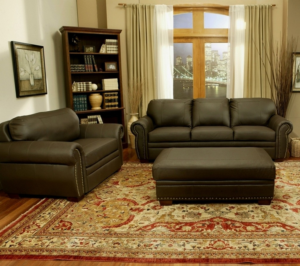 Sofa Chair And Ottoman With Well Known Abbyson Living Signature Premium Italian Leather Oversized Sofa (Gallery 15 of 20)