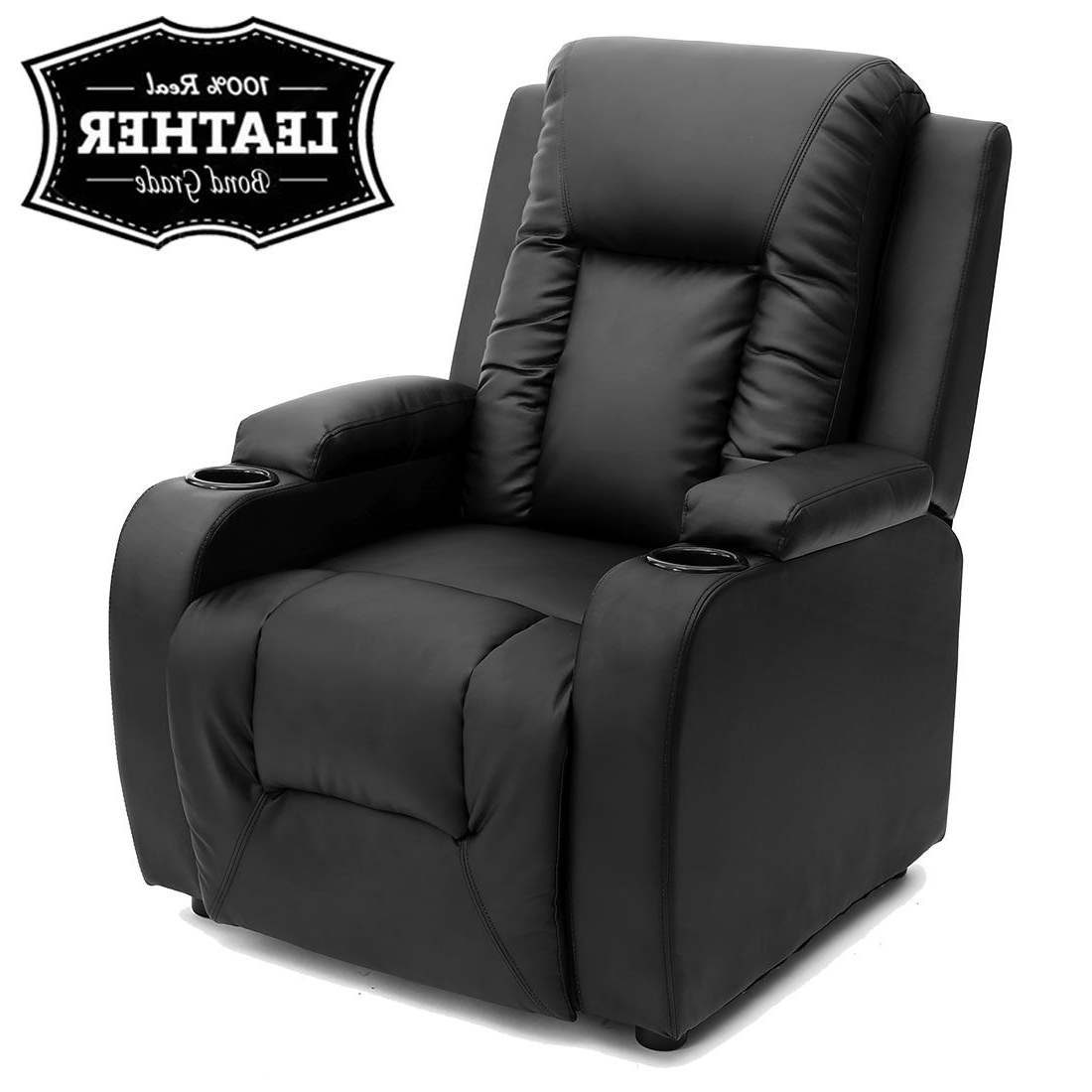 Sofa Chair Recliner Intended For Favorite Oscar Leather Recliner W Drink Holders Armchair Sofa Chair Reclining (Gallery 3 of 20)