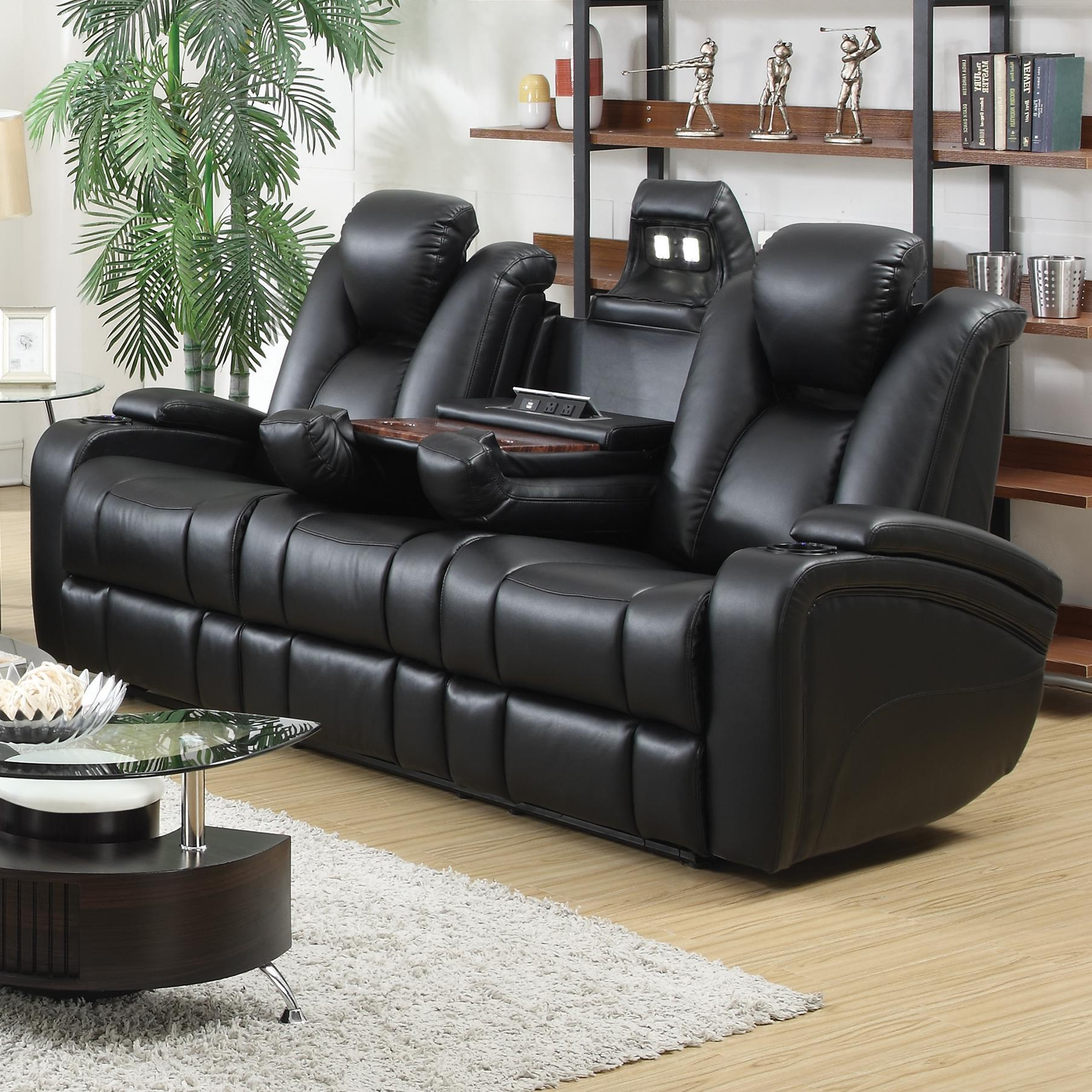 Sofa Chair Recliner Within Current Coaster Delange 601741p Reclining Power Sofa With Adjustable (View 18 of 20)