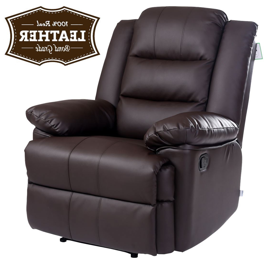 Sofa Chairs Pertaining To Widely Used Loxley Brown Leather Recliner Armchair Sofa Home Lounge Chair (Gallery 1 of 20)