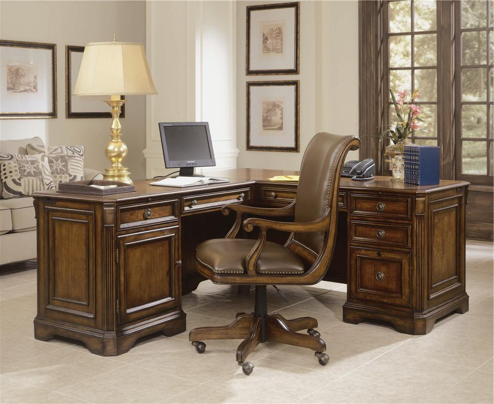 """Sofa Desk Chairs Regarding Best And Newest Hooker Furniture Brookhaven Executive """"l"""" Right Return Desk (Gallery 19 of 20)"""