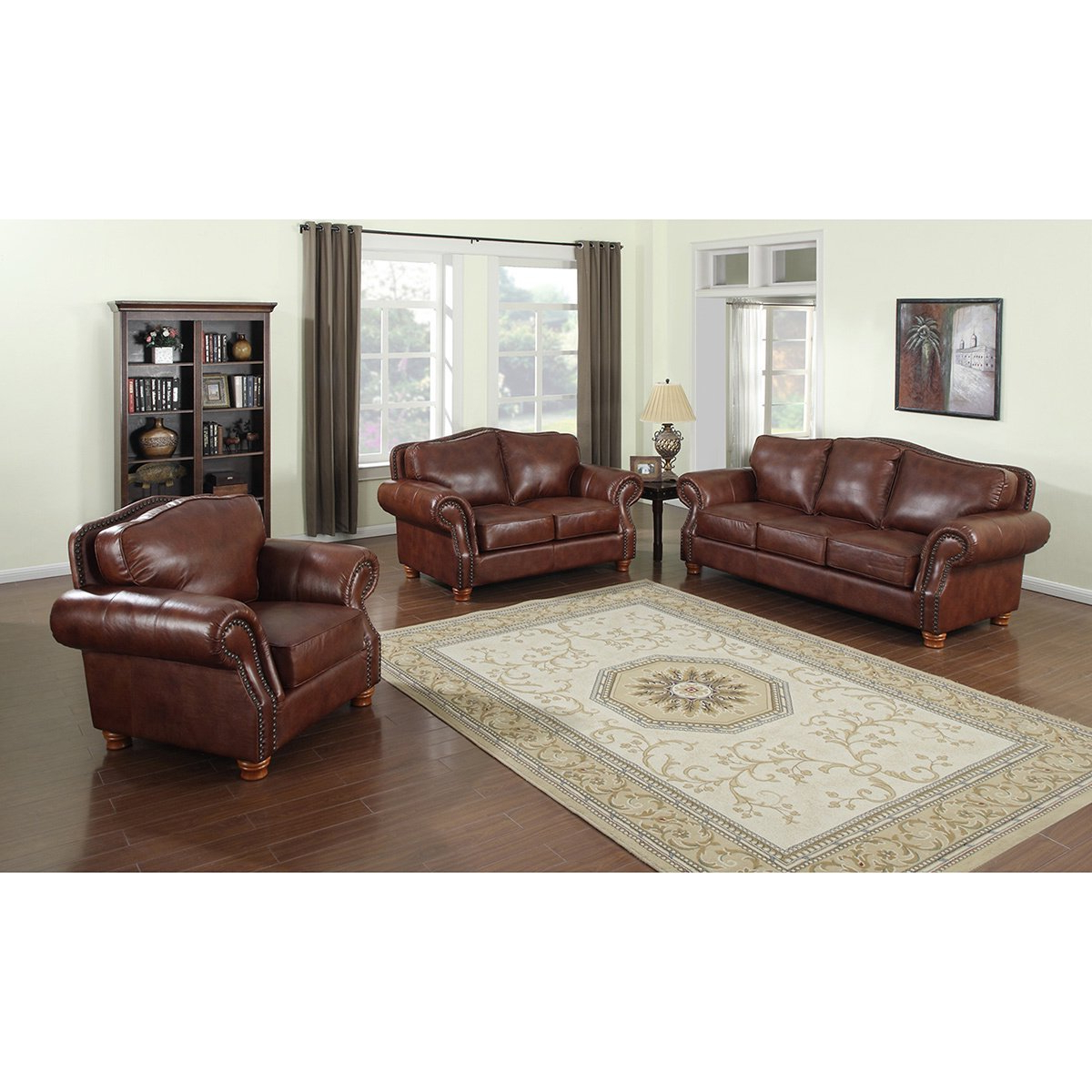 Sofa Loveseat And Chairs For Popular Shop Brandon Distressed Whiskey Italian Leather Sofa, Loveseat And (View 10 of 20)
